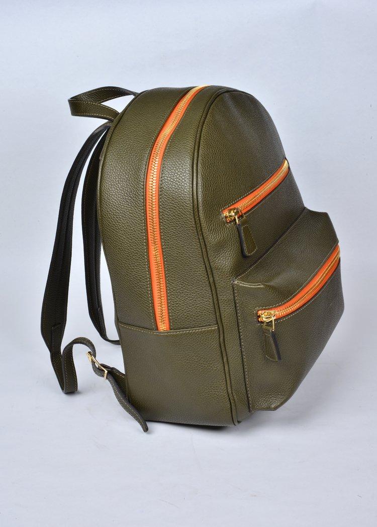 italian green leather backpack matteo perin.jpg