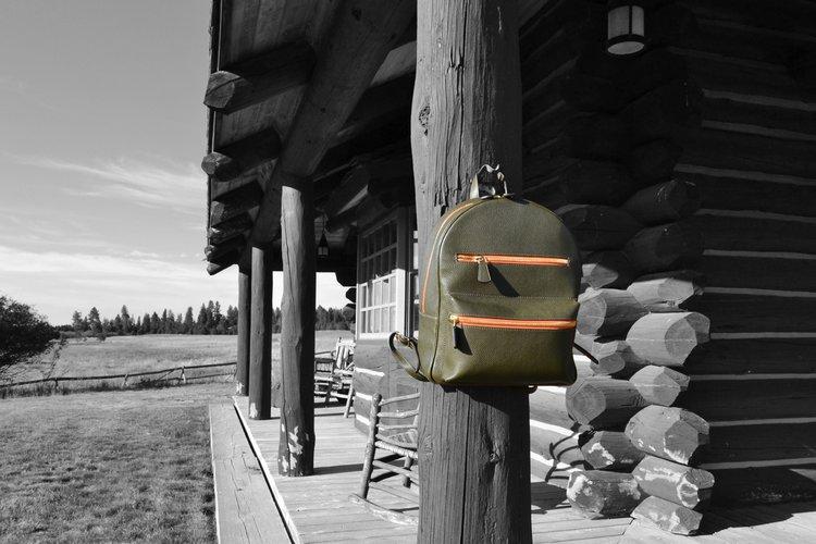 italian green orange leather backpack matteo perin.jpeg