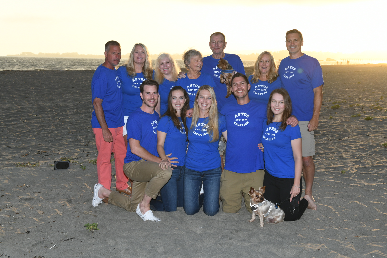 Family photo complete with our 30 year anniversary shirts. Spanky [front Yorkie] obviously stole the show!