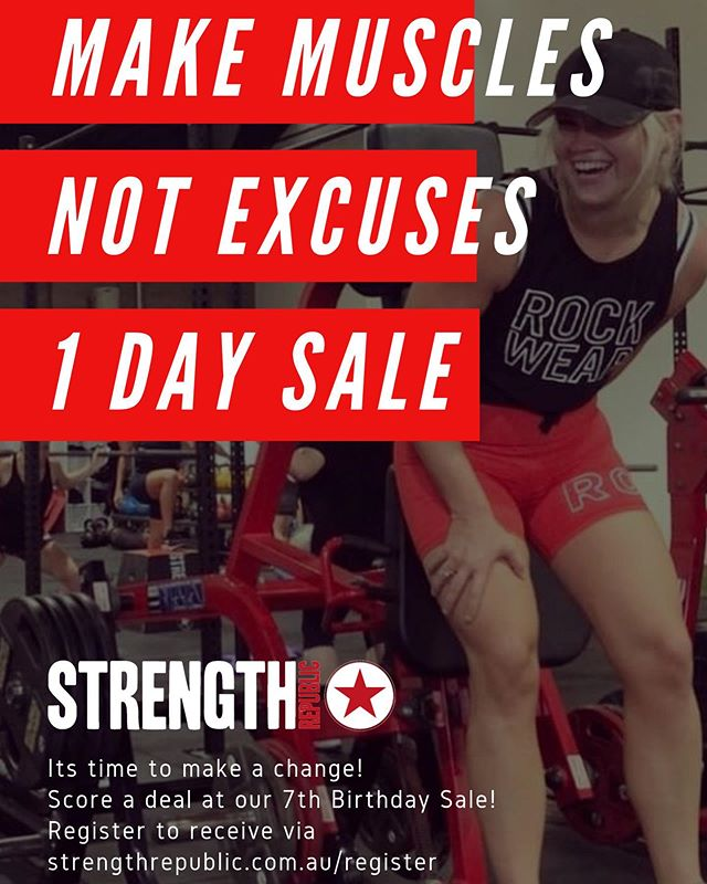 Make muscles 💪  Not excuses 🥵 . . Strength Republic Birthday Sale . 1 DAY ONLY . Register here 🙌 https://www.strengthrepublic.com.au/register . . #strengthrepublic #videography #fitness #fit #motivation #gym #fitnessmotivation #workout #bodybuilding #instagood #health #training #photooftheday #lifestyle #gymmotivation #instagram #healthy #strong #exercise #fitfam #fitnessaddict #instafit #fitspo #cardio