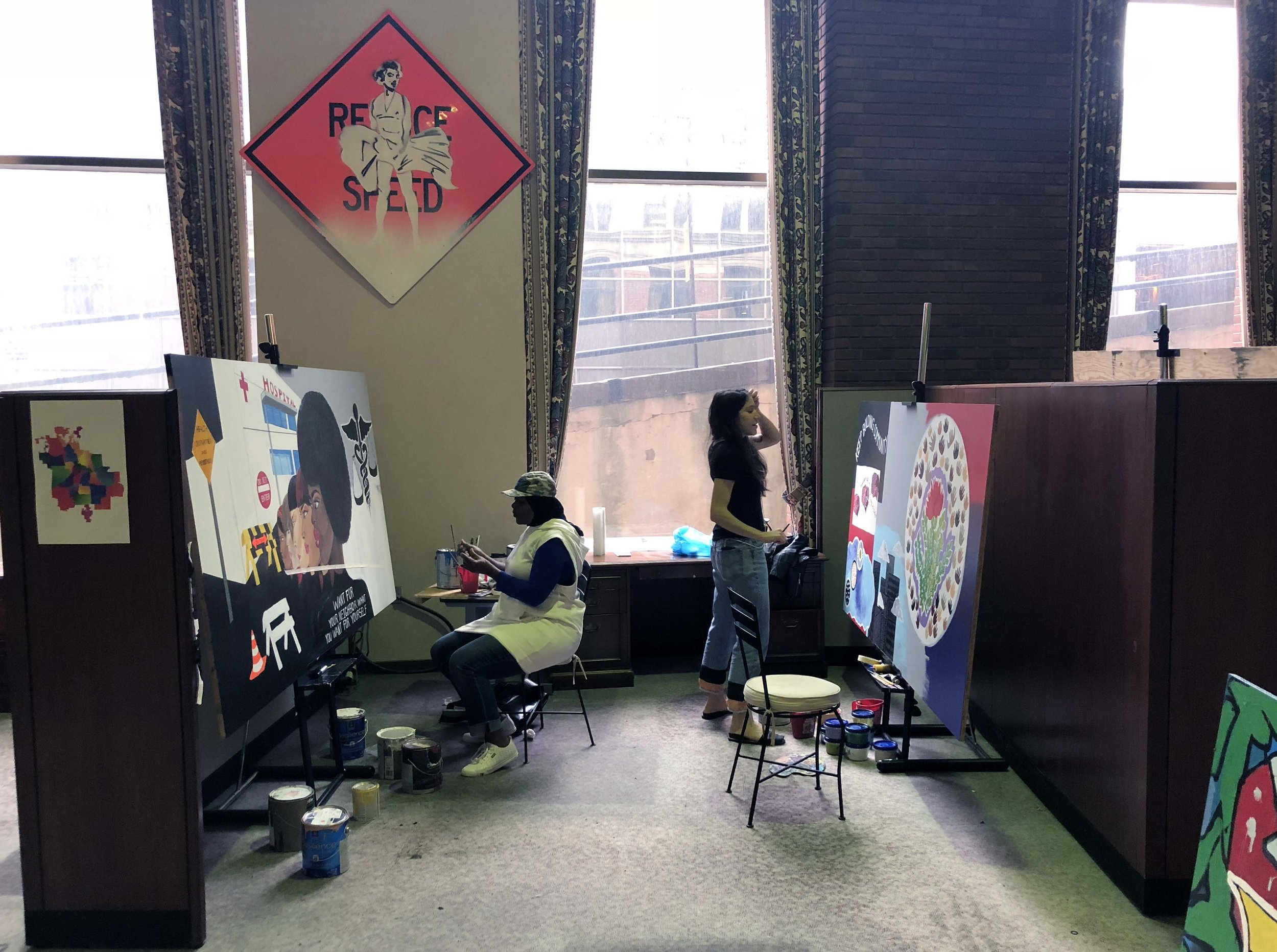 Nichole Epps and Anika Kent at work in our studio.