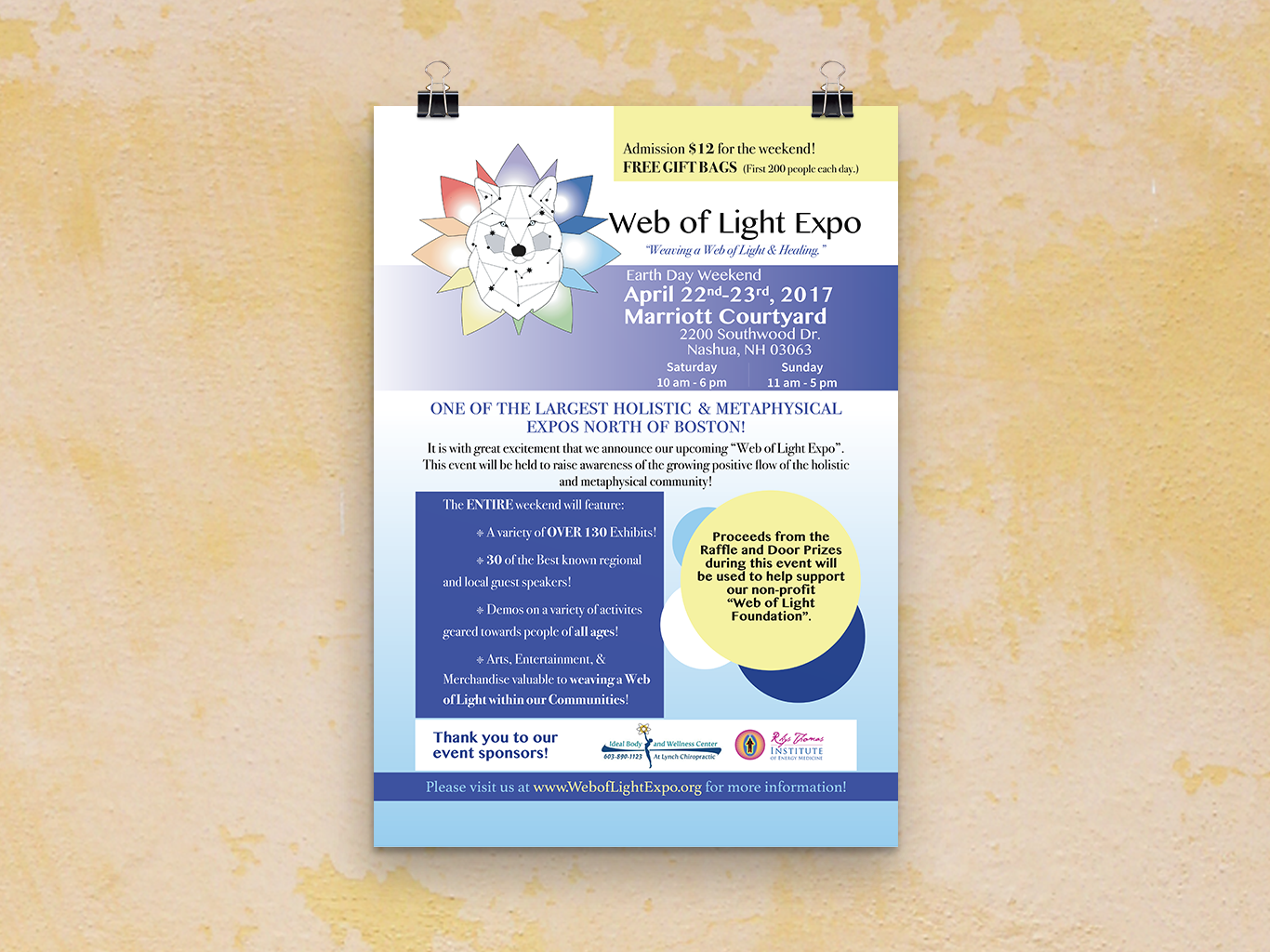 This flyer was created for WOLF's first annual holistic & metaphysical expo. The Challenge: To include all necessary information about the event, including branding for the generous sponsors of the event. I worked closely with the cofounders of WOLF and adeptly handled the copious amounts of pertinent info to be included on the flyer.