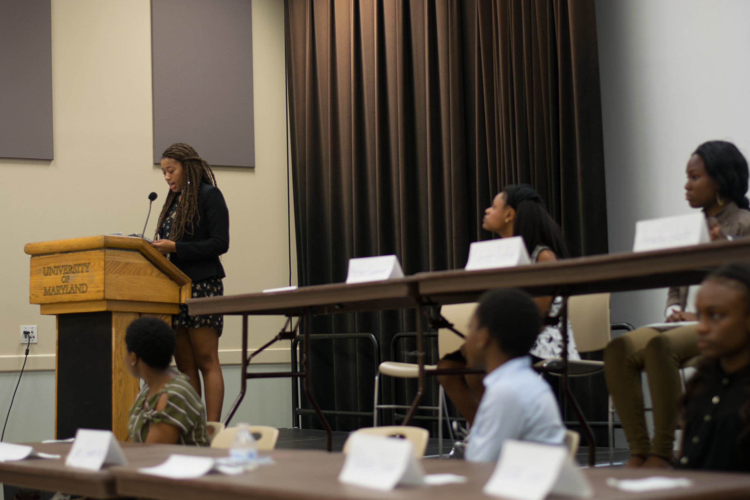 Tamya Anderson (left), freshman criminology and criminal justice major, delivers her 2 minute speech at the 2017-2018 Black Student Union Freshman Council elections held on Monday, Sept. 18, 2017. Anderson defined a leader as someone who is compassionate, open-minded, and approachable. Photo by Amina Lampkin.