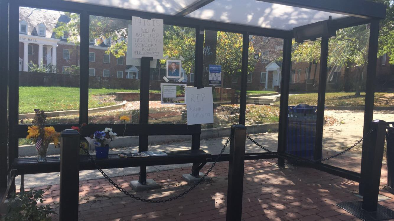 The former bus stop turned memorial site reserved for Lt. Richard Collins III. Photo: Simret Aklilu
