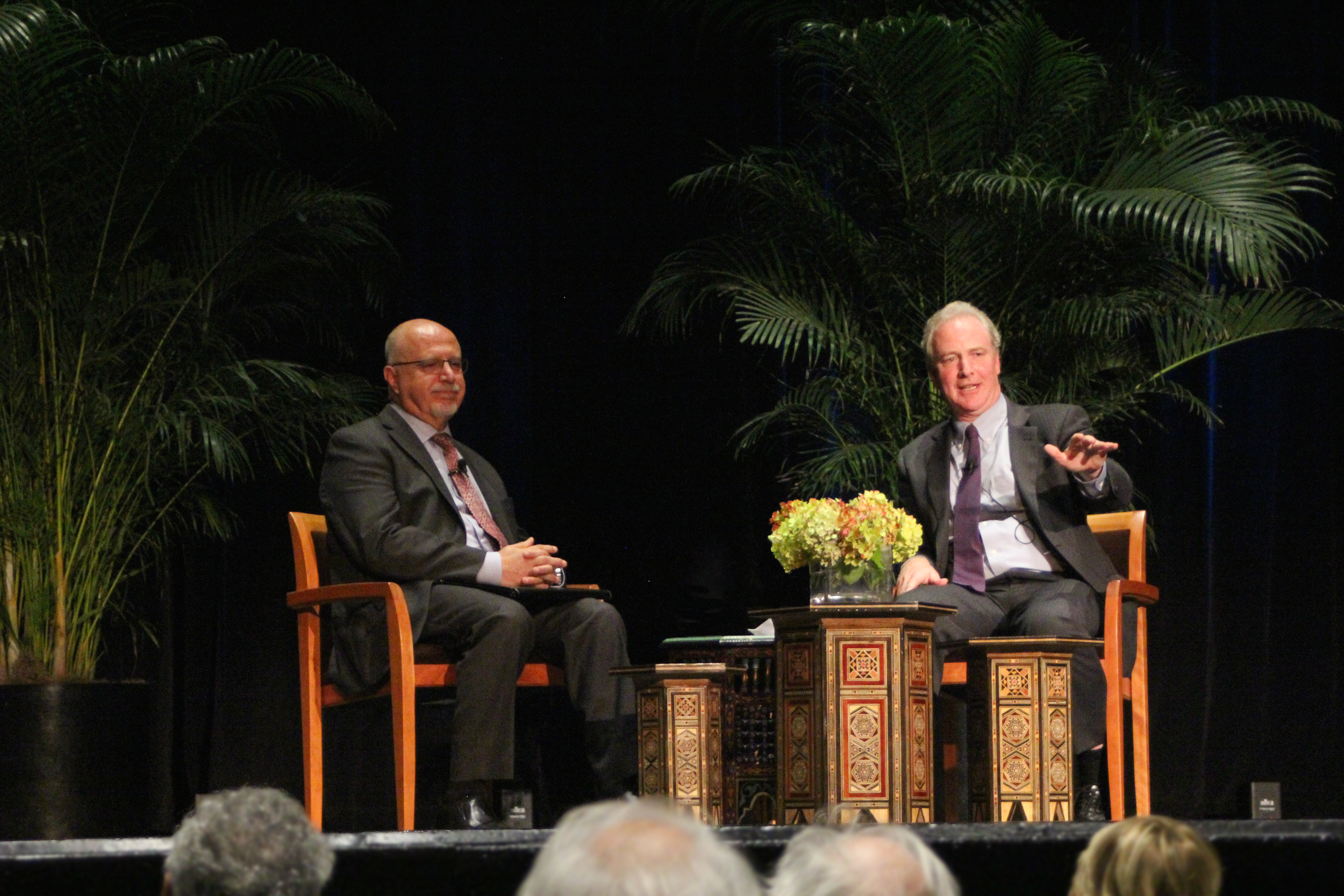 Sen. Chris Van Hollen and Shibley Telhami discuss issues related to the political climate of the country at the Anwar Sadat Forum. Photo: Cameron Jackson