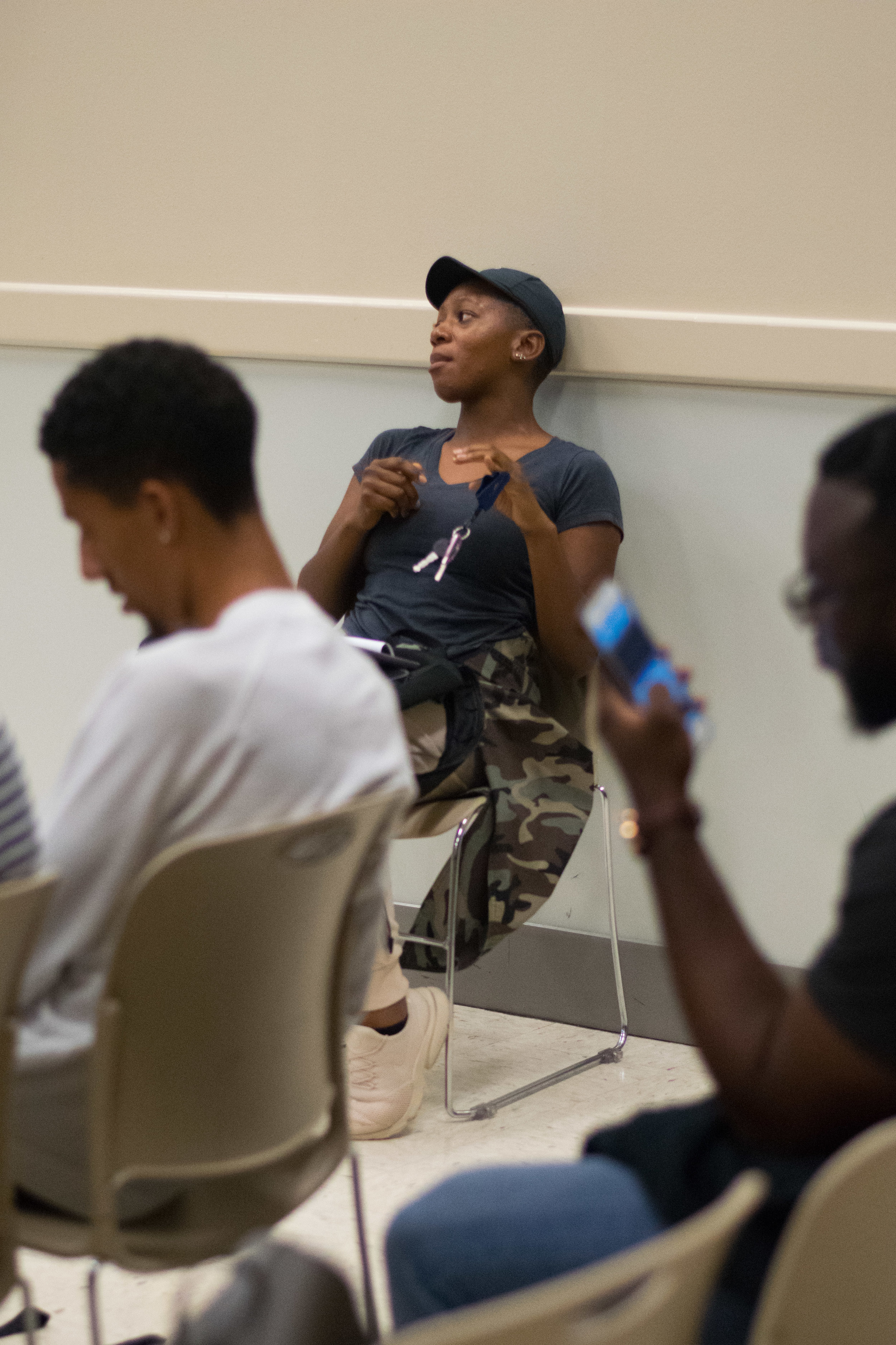 At the first BSU general body meeting hosted by the 2017-2018 Freshman Council on 2 October 2017, students came together to discuss the various layers to the kneeling taking place in the National Football League. Diana Sarnor, kinesiology major in the class of 2019, remarks that players taking a knee during the national anthem is not disrespectful. Sarnor then lists all the various ways we disrespect the flag everyday. Photo: Amina Lampkin.