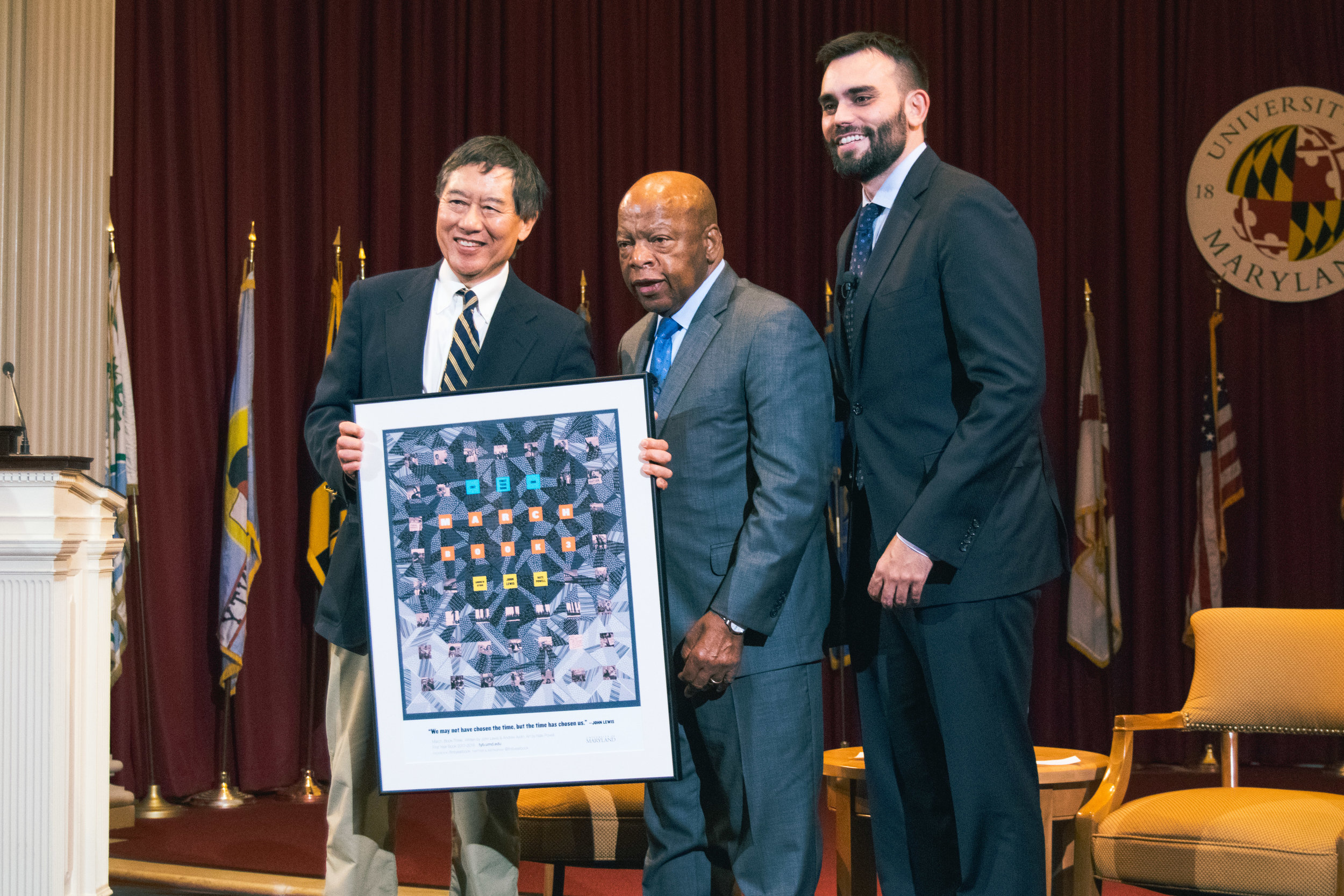 "William A. Cohen, associate provost and dean of undergraduate studies, welcomed Rep. Lewis and Aydin. President Wallace D. Loh closed the program with remarks about how inspiring Rep. Lewis and Aydin were. President Loh called Rep. Lewis an ""American hero."""