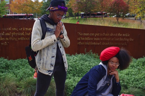 Anaiah Hodge (left) and Kyemah Clark (right) sport their silk scarf and bonnet in support of UMD Durag Day.