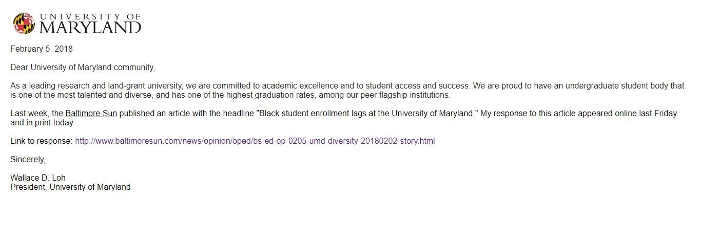 """On Feb. 5, 2018, President Loh sent an email to the University of Maryland that shared a link to his response to the Baltimore Sun piece entitled """"Black student enrollment lags at University of Maryland"""" by Talia Richman."""