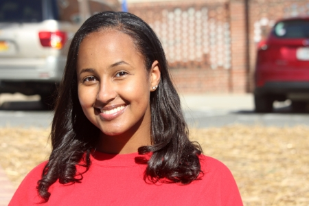 Mahalet Samson, 18, smiles for a portrait outside of the Reckford Armory in College Park, Md. on Thursday, Oct. 25, 2018. (Alexandra Glover/The Black Explosion)