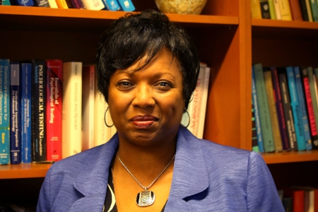 Dr. Sharon Kirkland-Gordon, the director of the University of Maryland Counseling Center, in her office at the Shoemaker Building in College Park, Md. on Monday, Oct. 29, 2018. (Alexandra Glover/The Black Explosion)