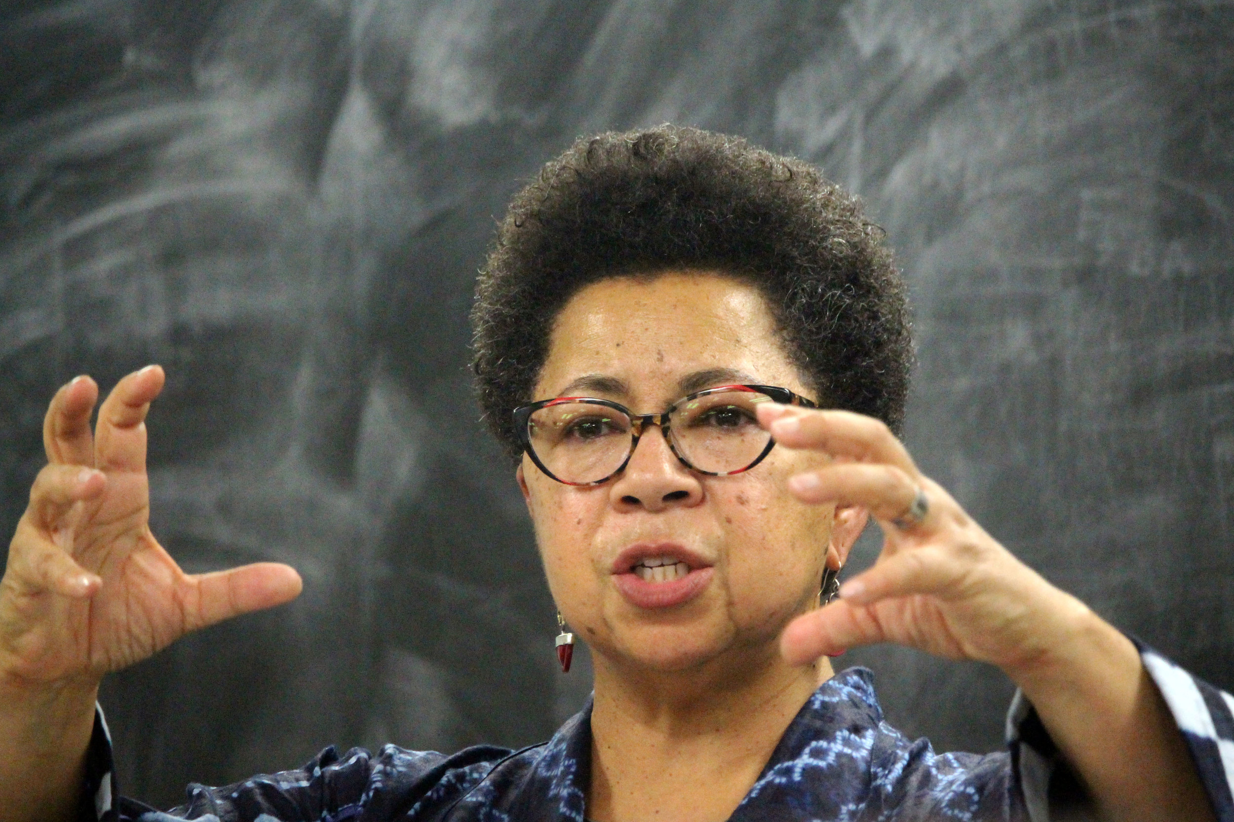 """Dr. Barbara Ransby, the award-winning author of """"Making All Black Lives Matter: Reimagining Freedom in the 21st Century,"""" highlights the importance and influence of Black women within the Black Lives Matter movement during her public seminar at Symons Hall in College Park, Md. on Monday, Dec. 3, 2018. (Alexandra Glover/The Black Explosion)"""