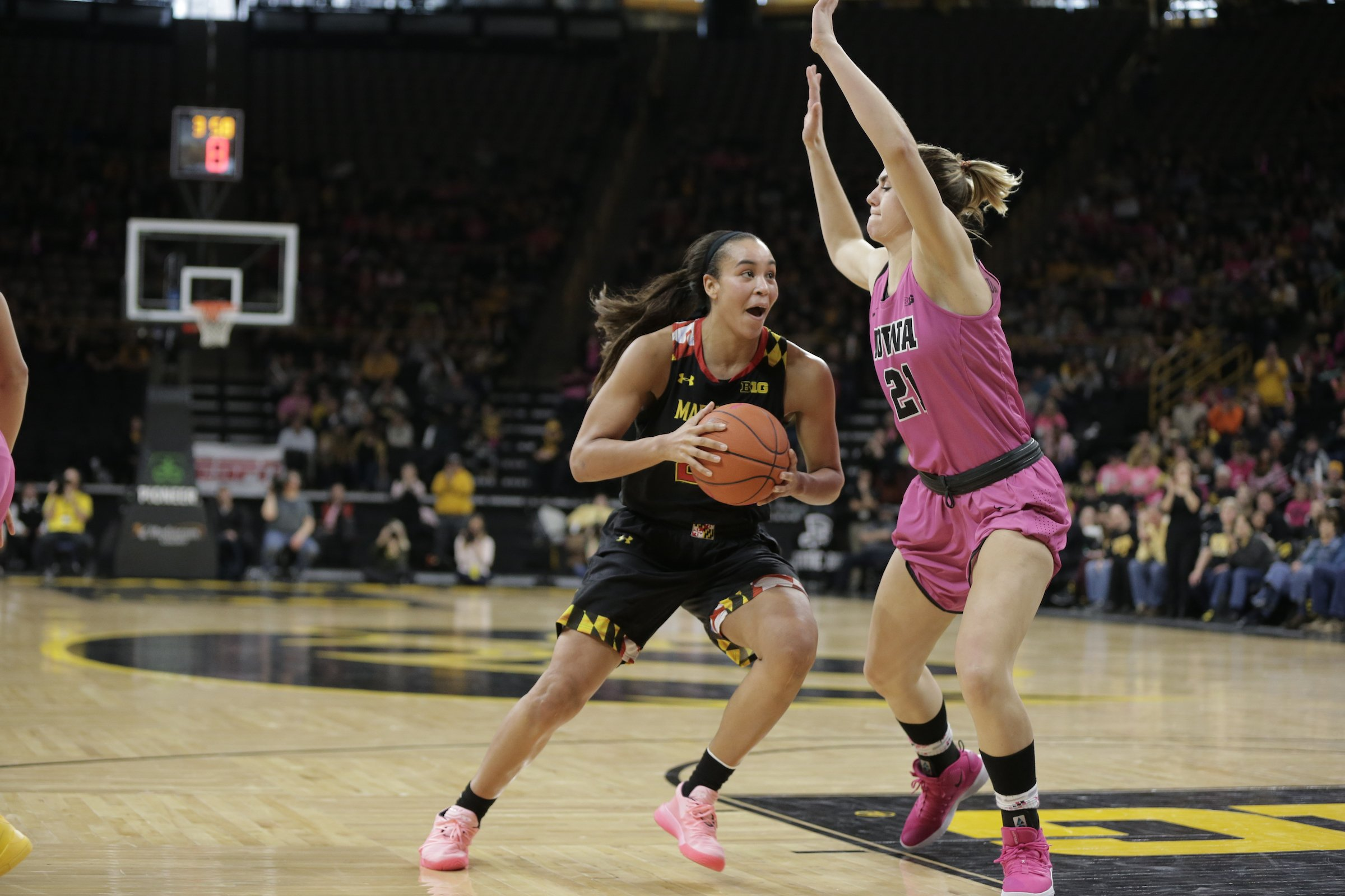 Maryland junior forward Stephanie Jones recorded a team-high 21 points in the Terrapins' 86-73 loss to the Iowa Hawkeyes at Carver-Hawkeye Arena on Sunday, February 17, 2019. (Photo courtesy of Maryland Athletics)