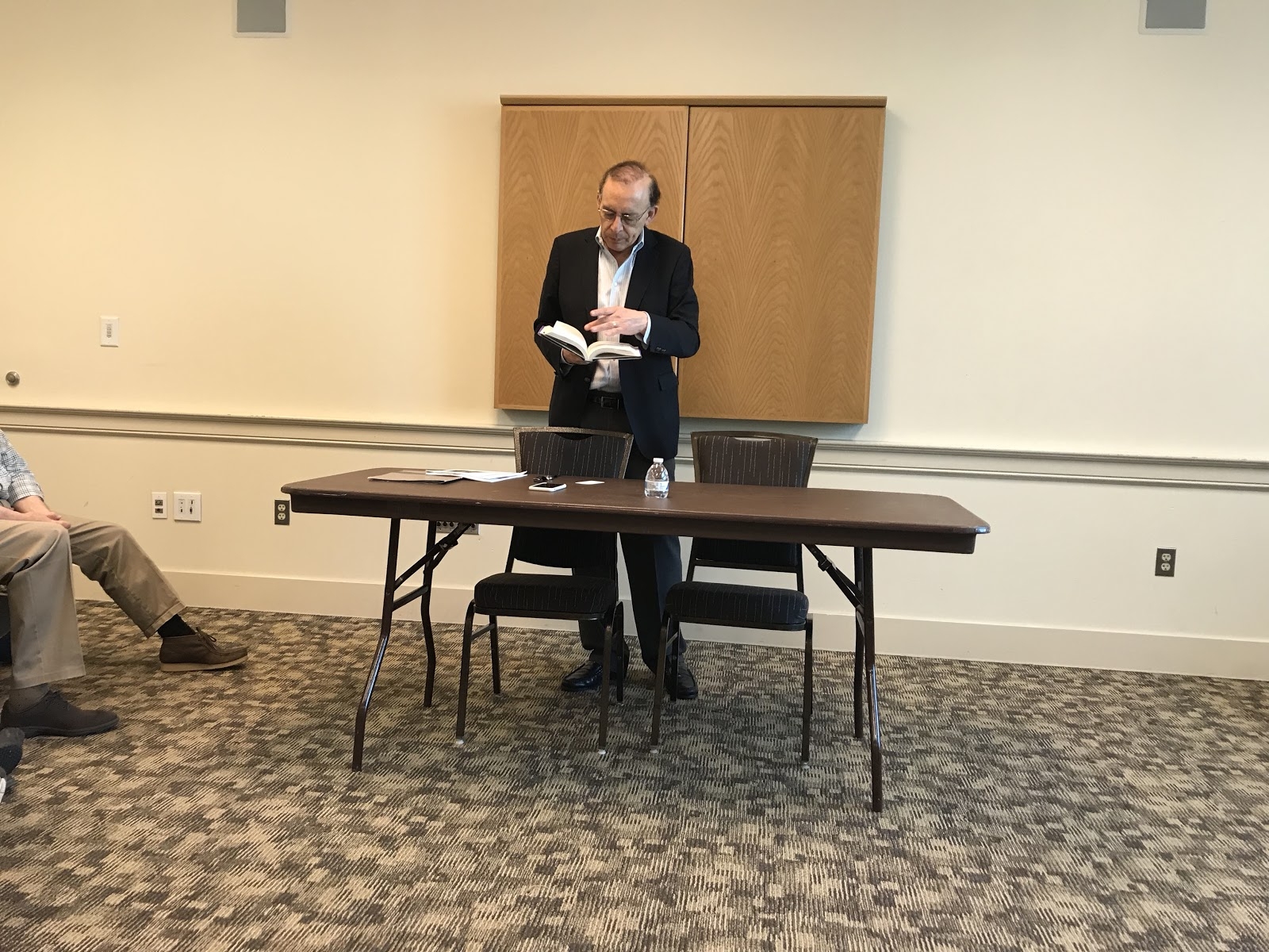 "Augusto Lopez-Claros reads from his new novel, ""Equality for Women=Prosperity for All,"" at the University of Maryland on Thursday, April 18, 2019. (Isaiah Smith/The Black Explosion)"