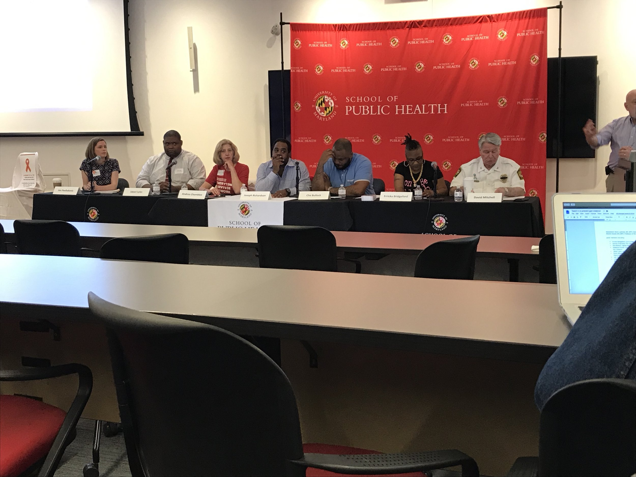 A guest panel spoke to students and faculty at the University of Maryland about gun awareness on Wednesday, April 24, 2019. (Isaiah Smith/The Black Explosion)