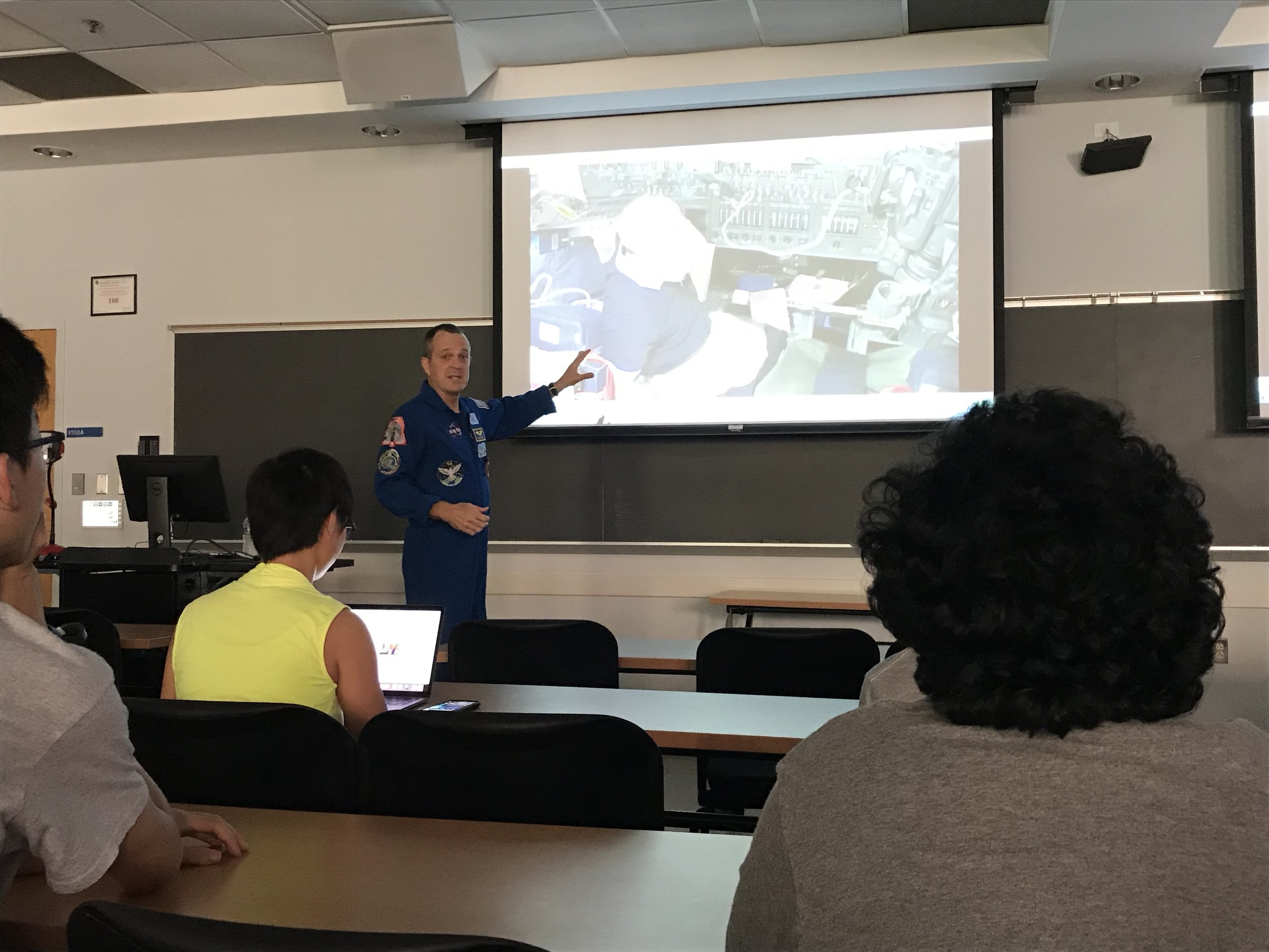 Astronaut Ricky Arnold gives a presentation to students and faculty at the University of Maryland on Thursday, May 2, 2019. (Isaiah Smith/The Black Explosion)