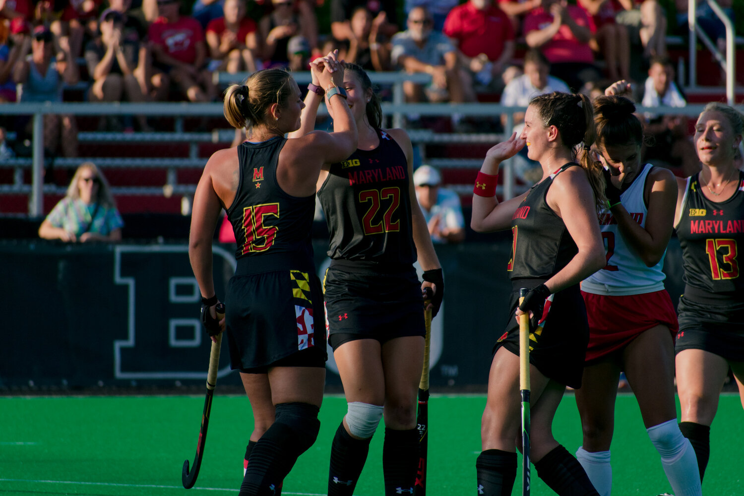Defenders Bodil Keus and Riley Donnelly are shown celebrating after a goal against the Richmond Spiders (Gabby Baniqued/The Diamondback)