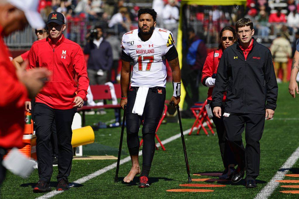 Josh Jackson exited Saturday's game with crutches after high-ankle sprain. Photo obtained from the  Washington Post . (Corey Perrine/Getty Images)