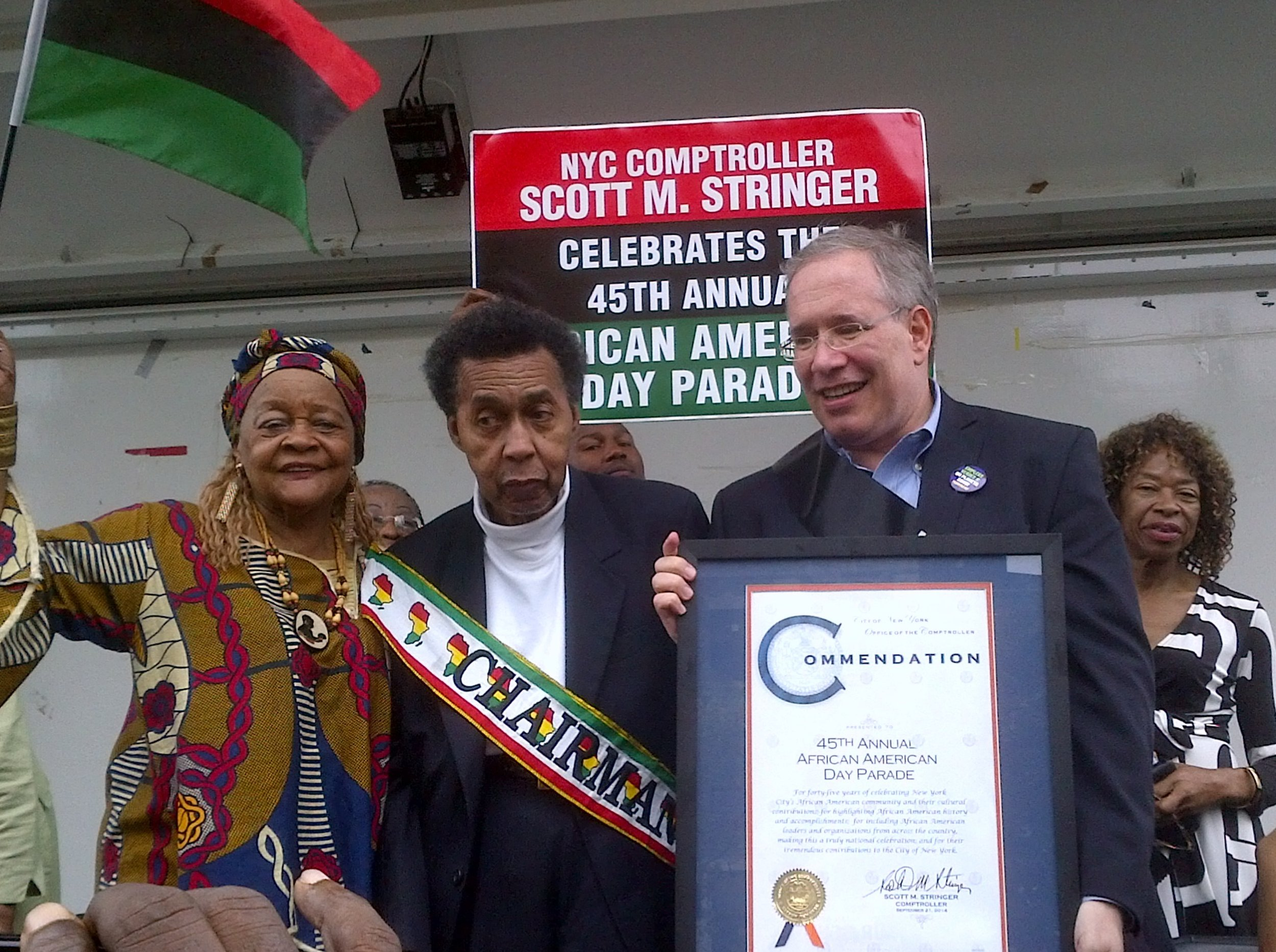 2014 - Chairman Emeritus Abe Snyder receives a Proclamation from NYC Comptroller, Scott Stringer, at the 45th annual African American Day Parade