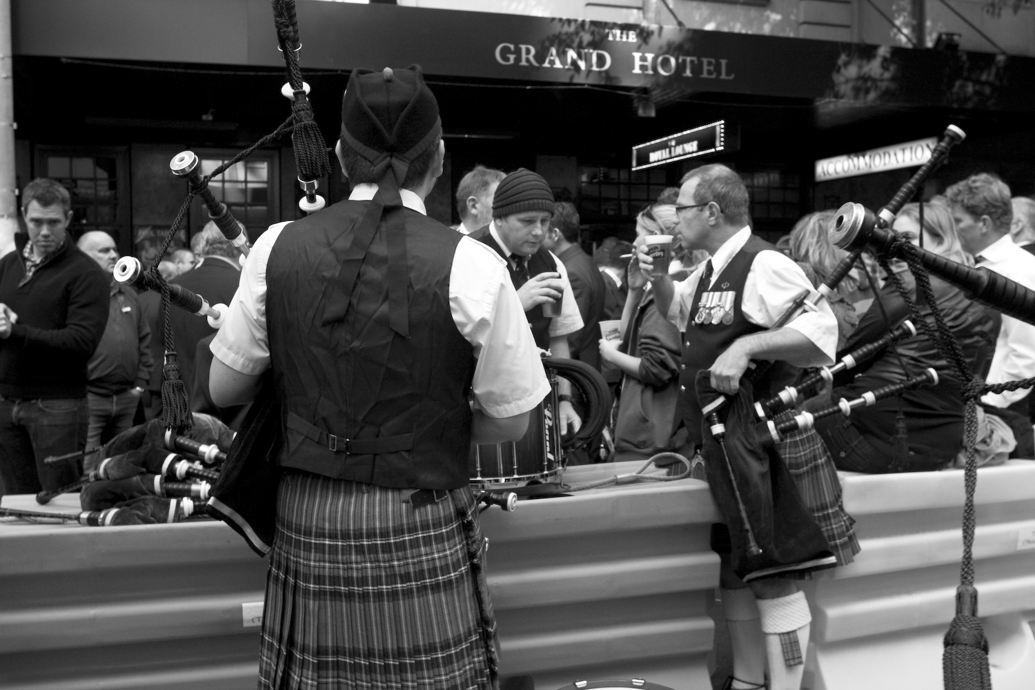 Pipers take a break (St Mary's pipe band