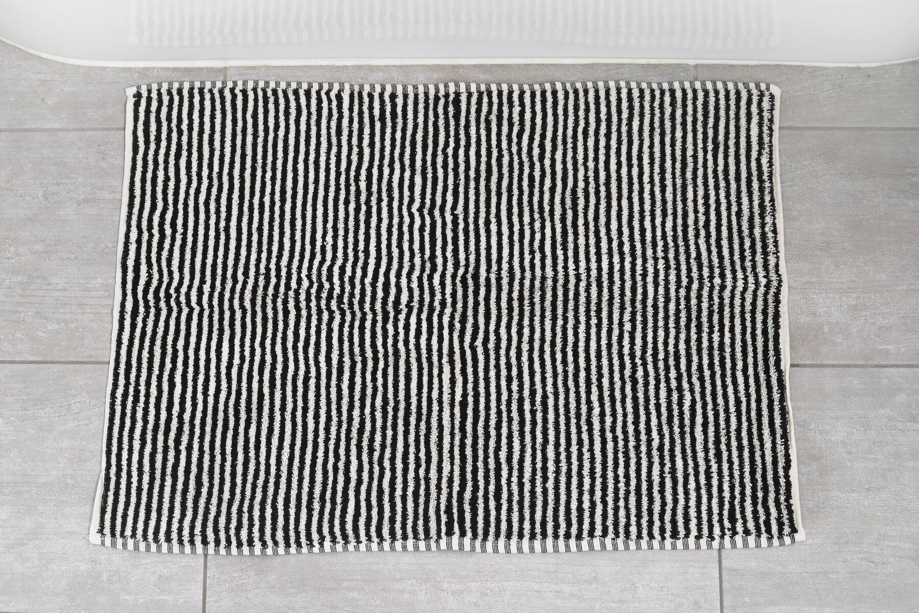 Picture of: Albatross Bath Mat Black And White Stripe Super Thick And Fluffy Designer Bath Runners Miss April