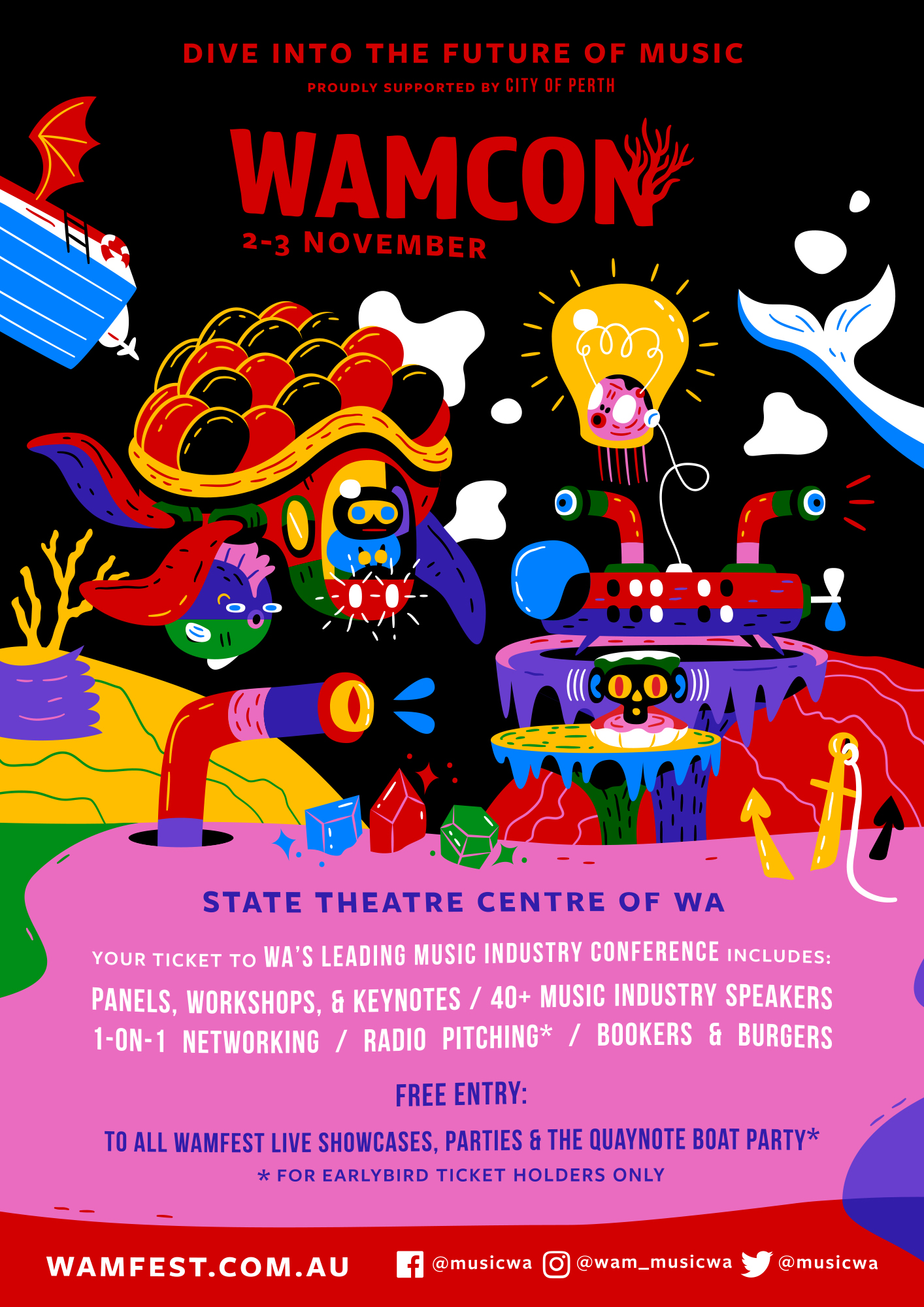 Don't miss the boat! - Proudly supported by City of Perth, WAMCon returns to the State Theatre Centre of WA on Friday 2 - Saturday 3 November as part of WAMFest 2018. Early bird tickets are now on sale via Eventbrite until 11:30pm 14 September 2018.