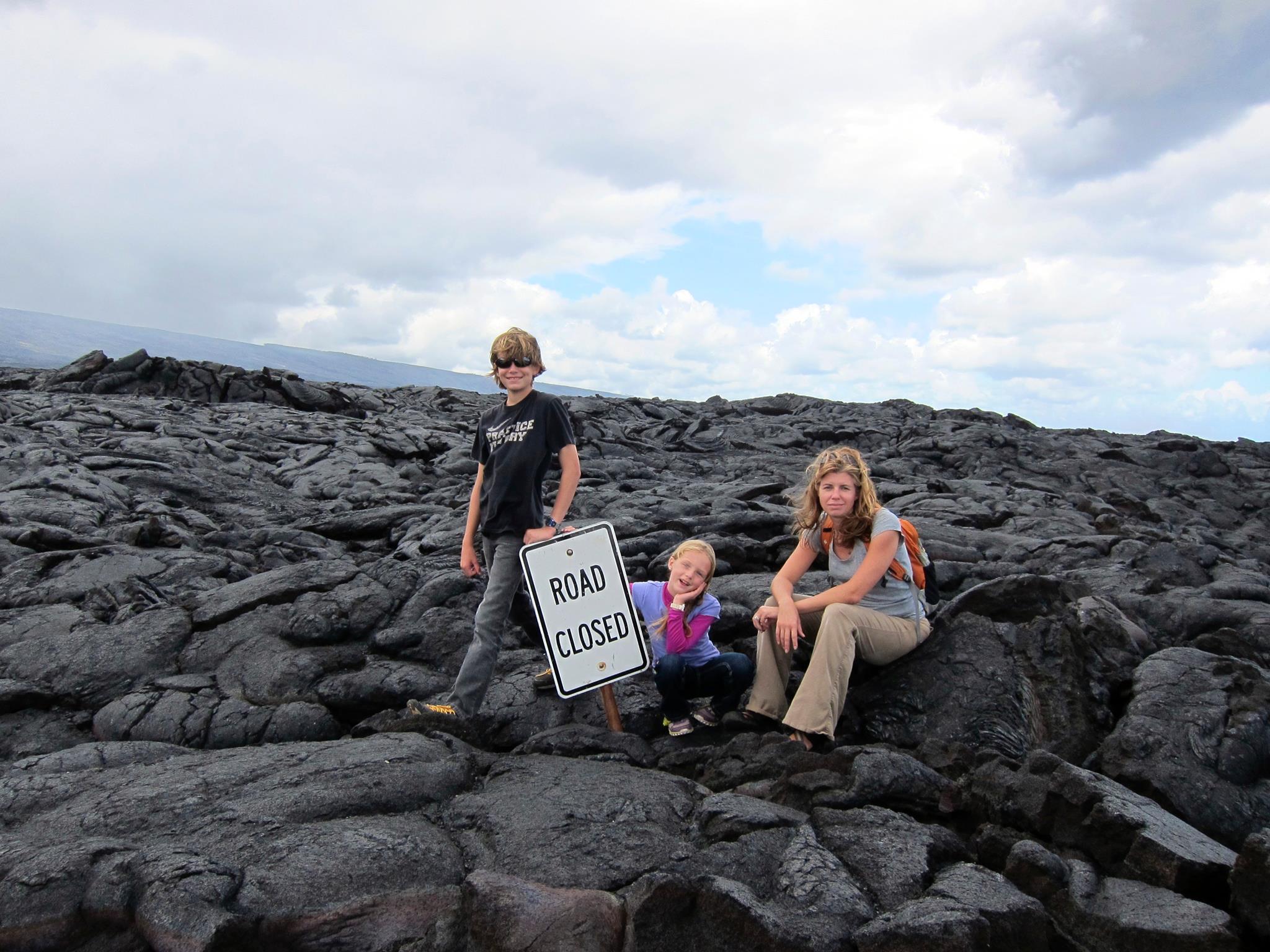 Alison & Kids - Volcanoes National Park