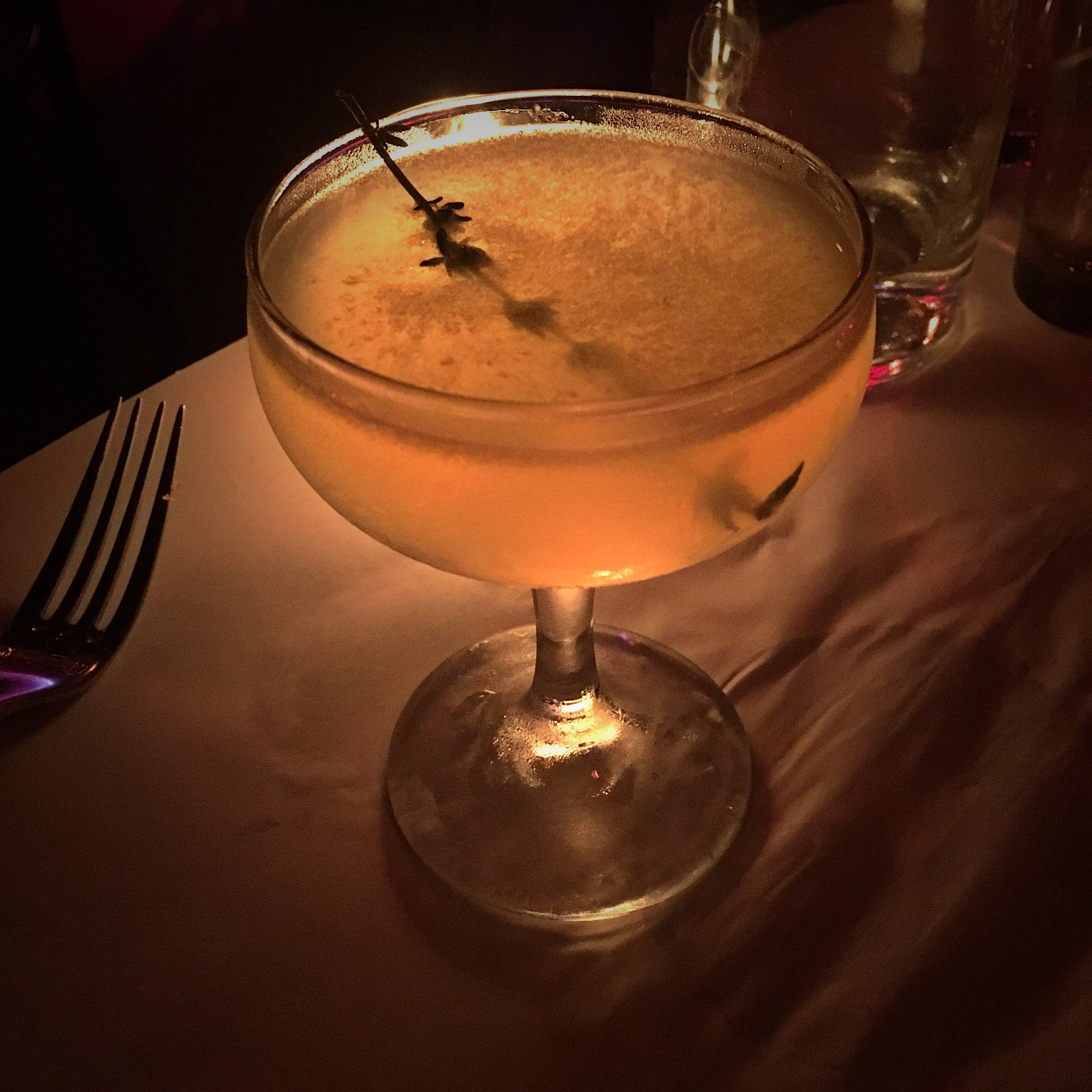 The King's Cross - rosemary infused gin, fresh lemon juice and almond syrup ($17)
