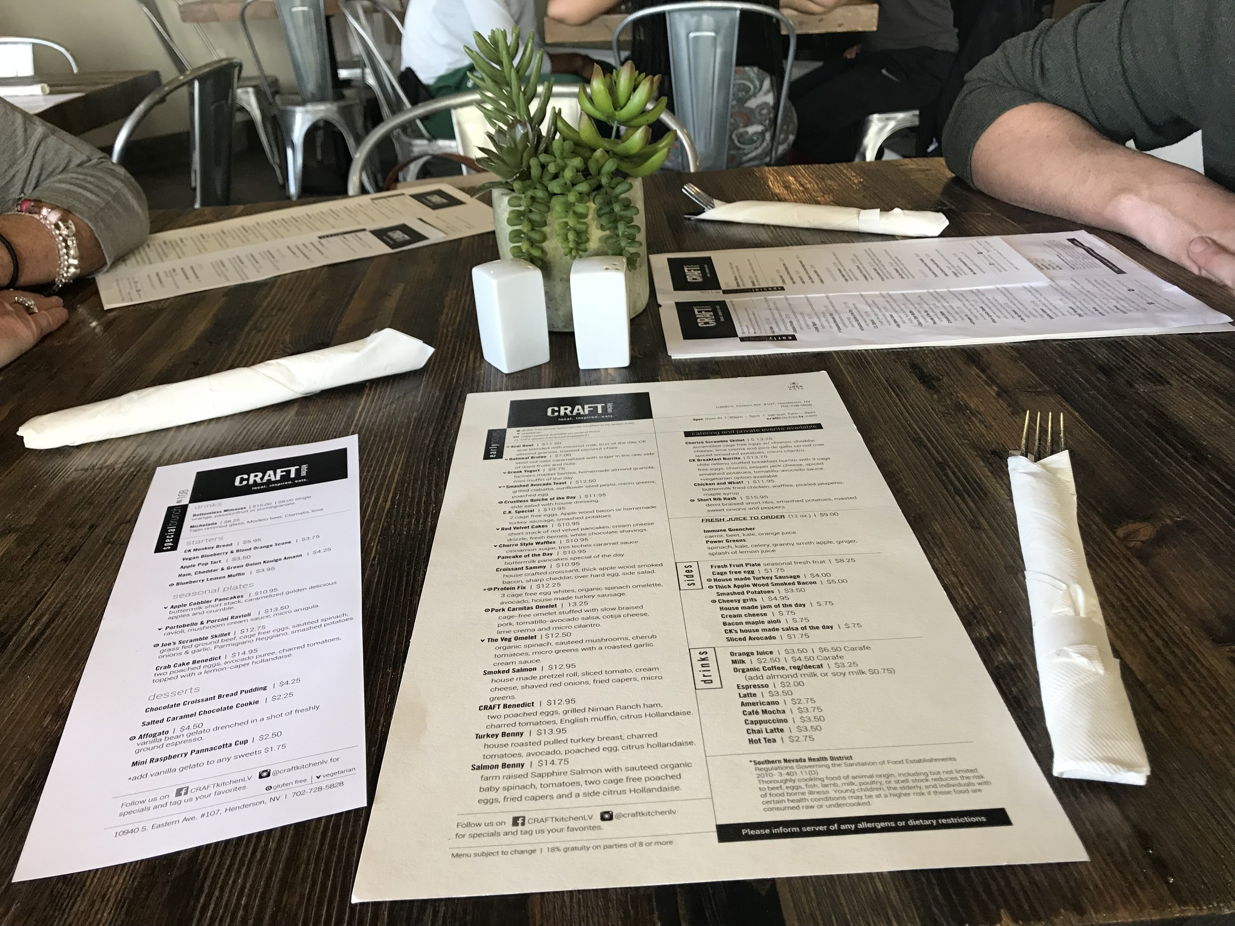 Curated brunch menu alongside their staple menu