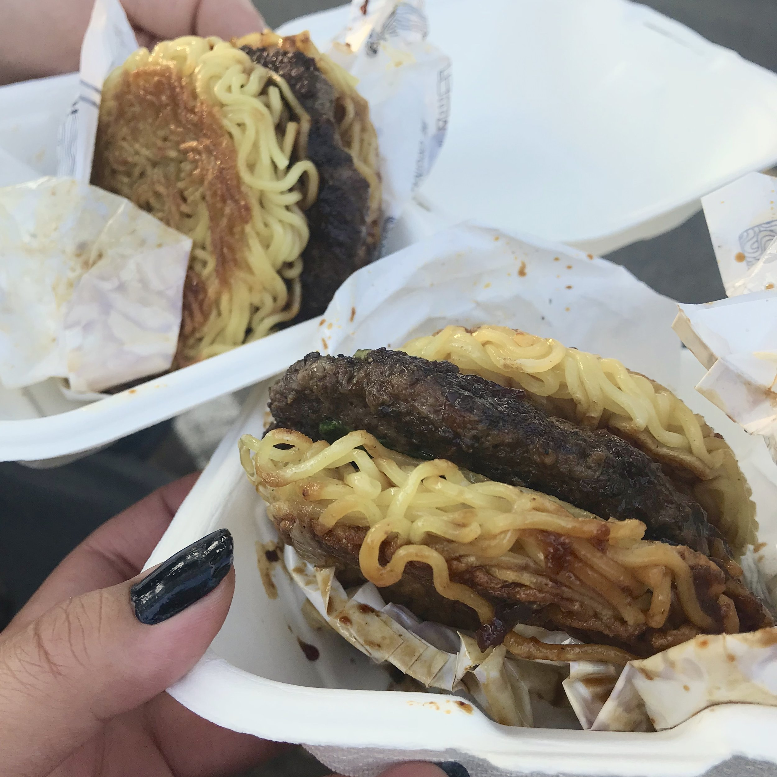Two Original Ramen Burgers from Ramen Shack ready for their glamour shots