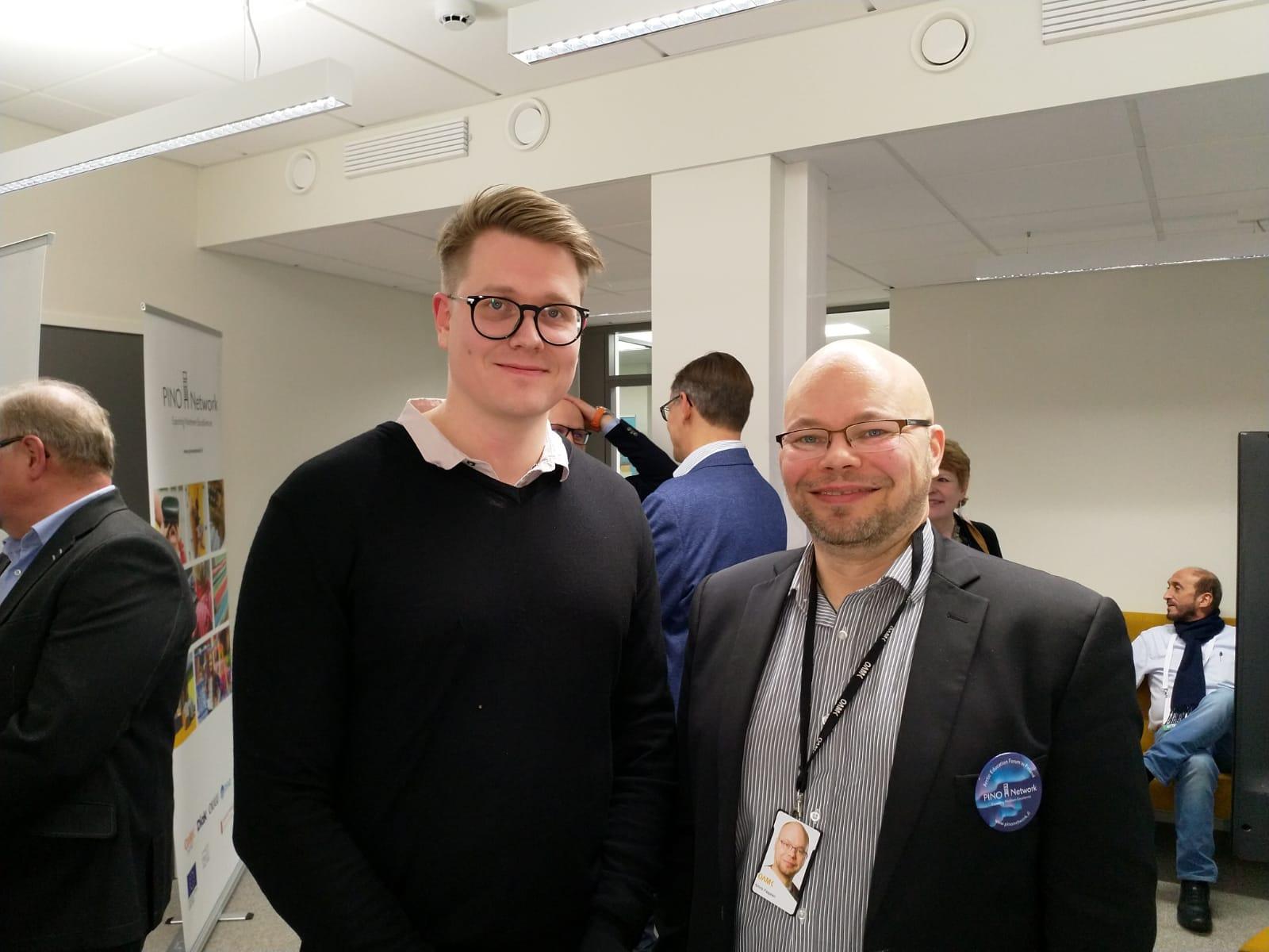 Henri Karjalainen, from Qridi (left) and Kimmo Paajanen, PINO Network