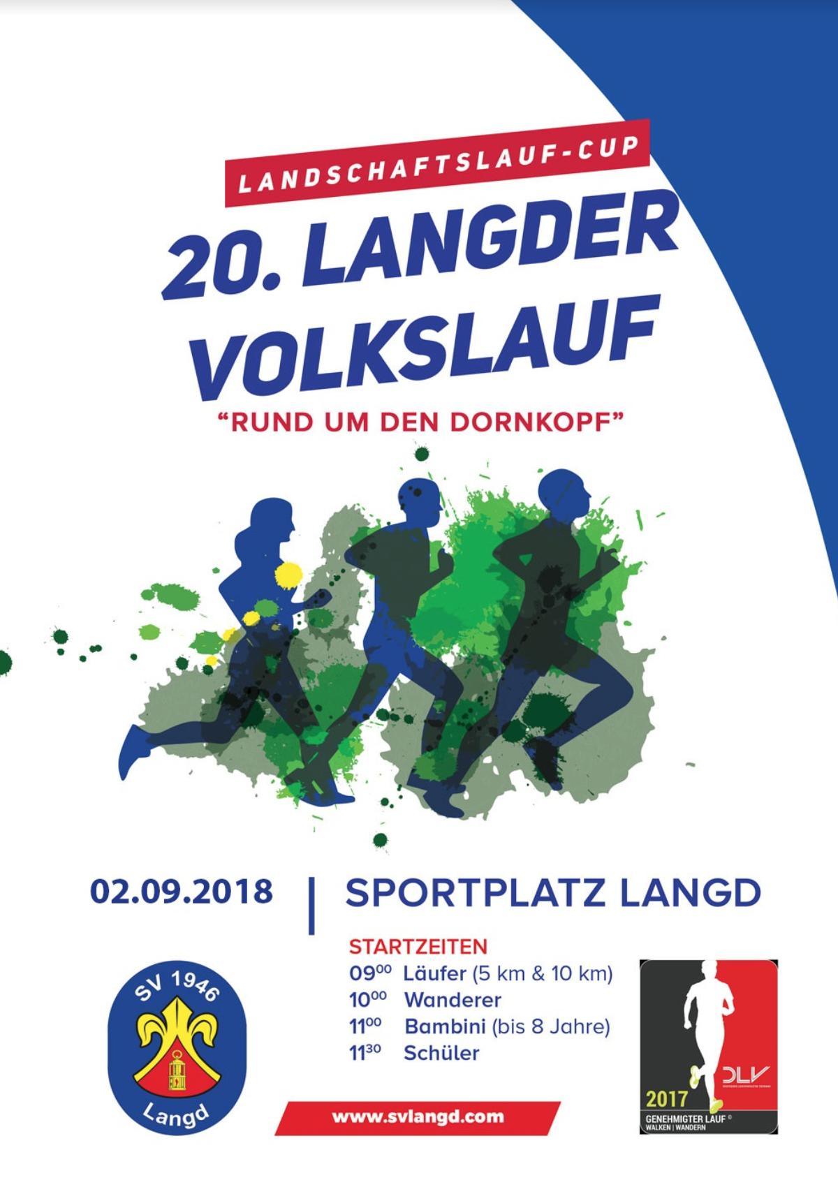 2. Engel-Landschaftslauf - Am 02.09. ist es wieder so weit.Im Rahmen des 2. Engel- Landschaftslauf mit dem VfB Ruppertsburg, dem Schützenverein 1874 e.V. Laubach und dem SV Langd, findet in Langd der Lauf