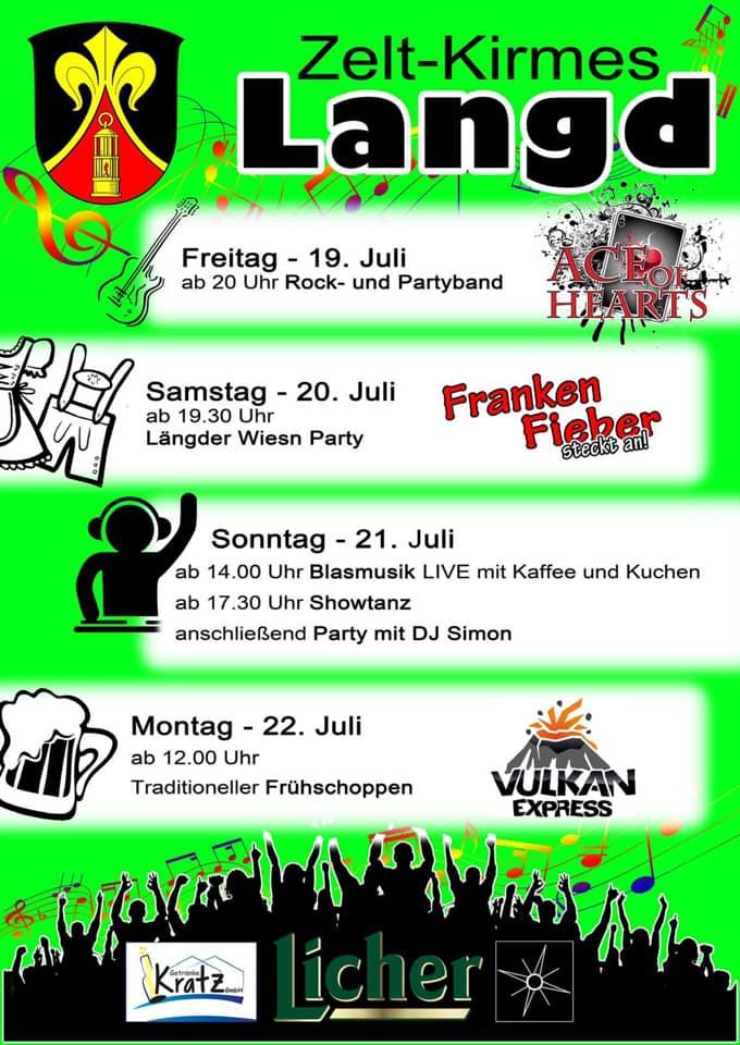 Yippie Ya Yeah Schweinebacke...das Programm der besten Kirmes im Umkreis ist da!!! 🎉🍺🔥 - Wir freuen uns auf Euch und großartige Bands:https://m.facebook.com/AceOfHeartsBand/https://www.facebook.com/lauramusikband/https://www.facebook.com/FrankenFieber/ https://m.facebook.com/Vulkanexpress/ https://www.facebook.com/wettertaler/Alle Infos und Updates findet Ihr auf der Kirmes Langd Facebook-Seite.