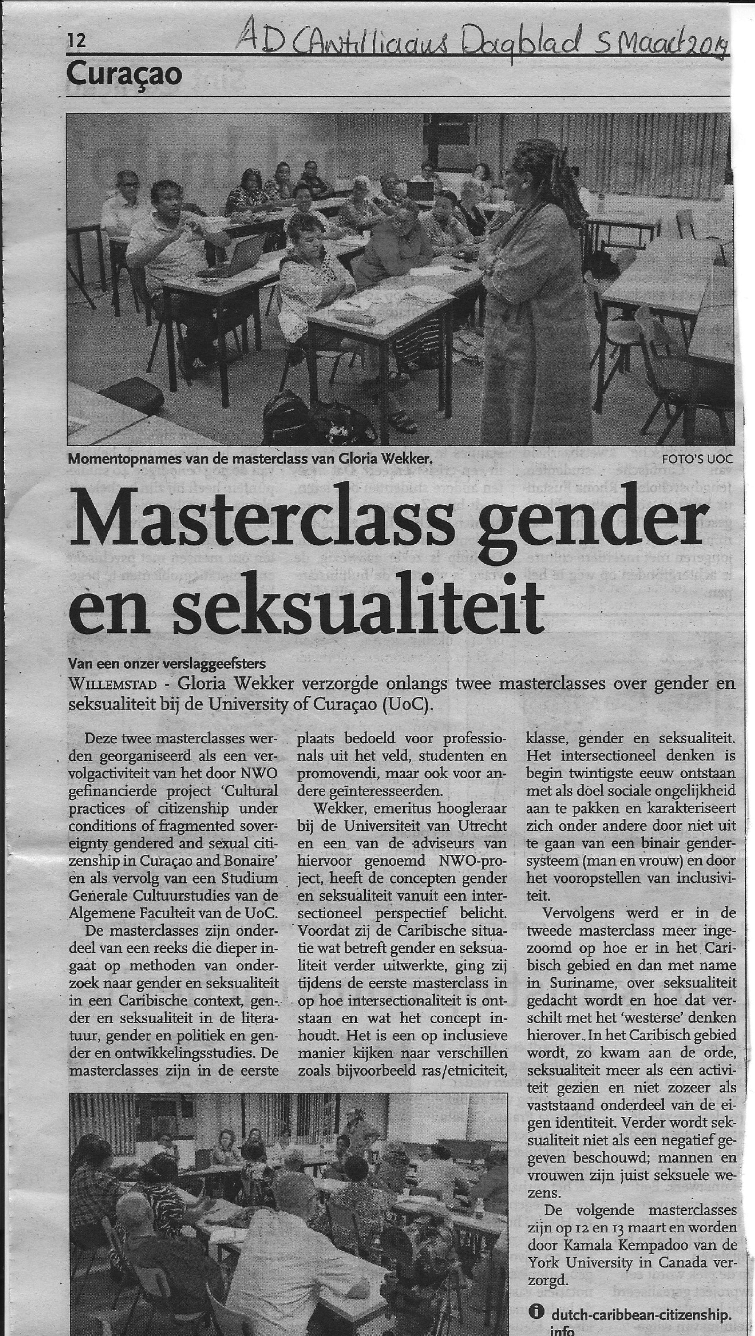 Article in Antilliaans Dagblad - March 5, 2019