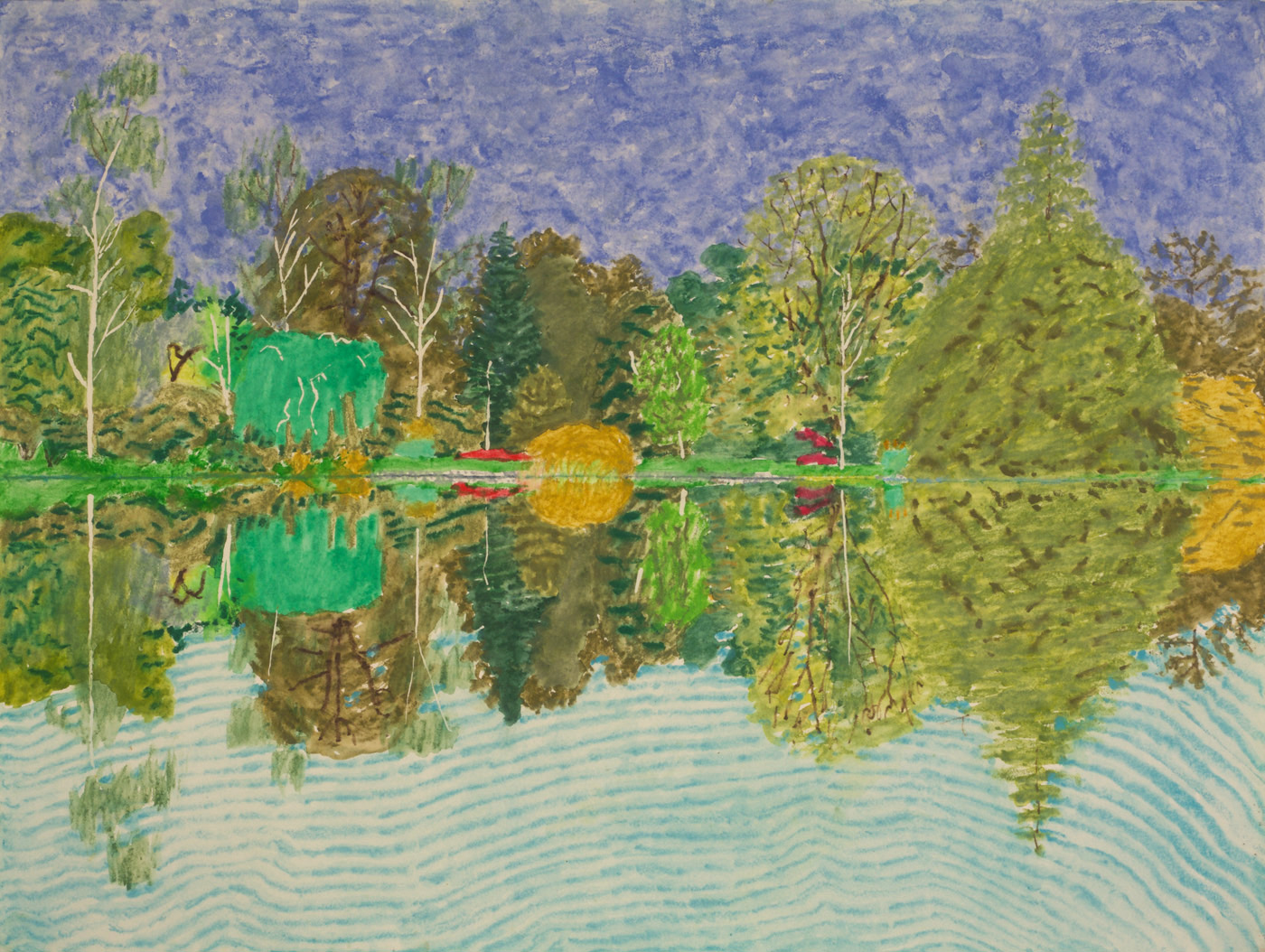 Edmund Berg archive. First Lake, Sheffield Park Garden, Sussex Weald 17th and 19th September (Watercolour, pencil and crayon) 2002.
