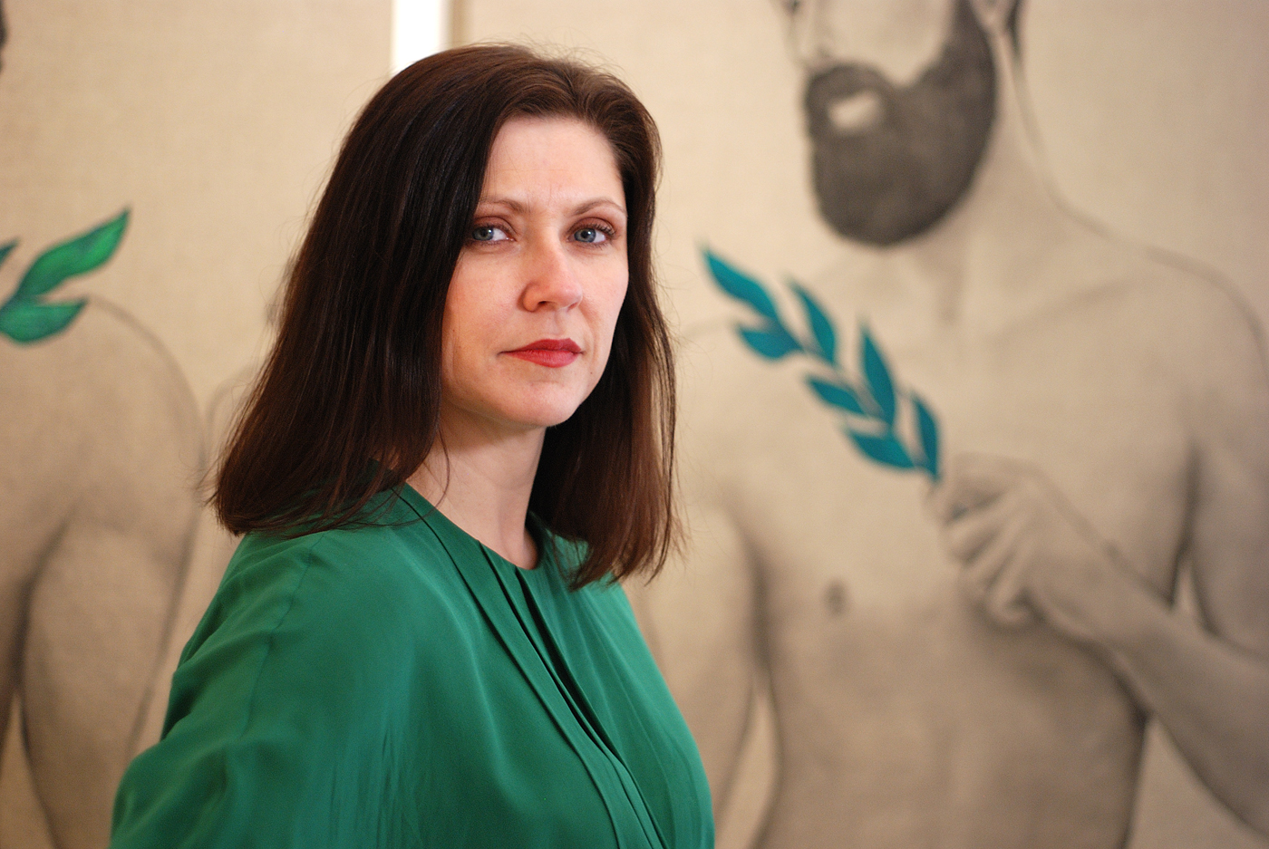 Kristin Hjellegerde director at Hjellegerde Gallery, Wandsworth, London with Disciple with Leaves, Spring and Summer (2013) by Mathew Tom.   kristinhjellegjerde.com