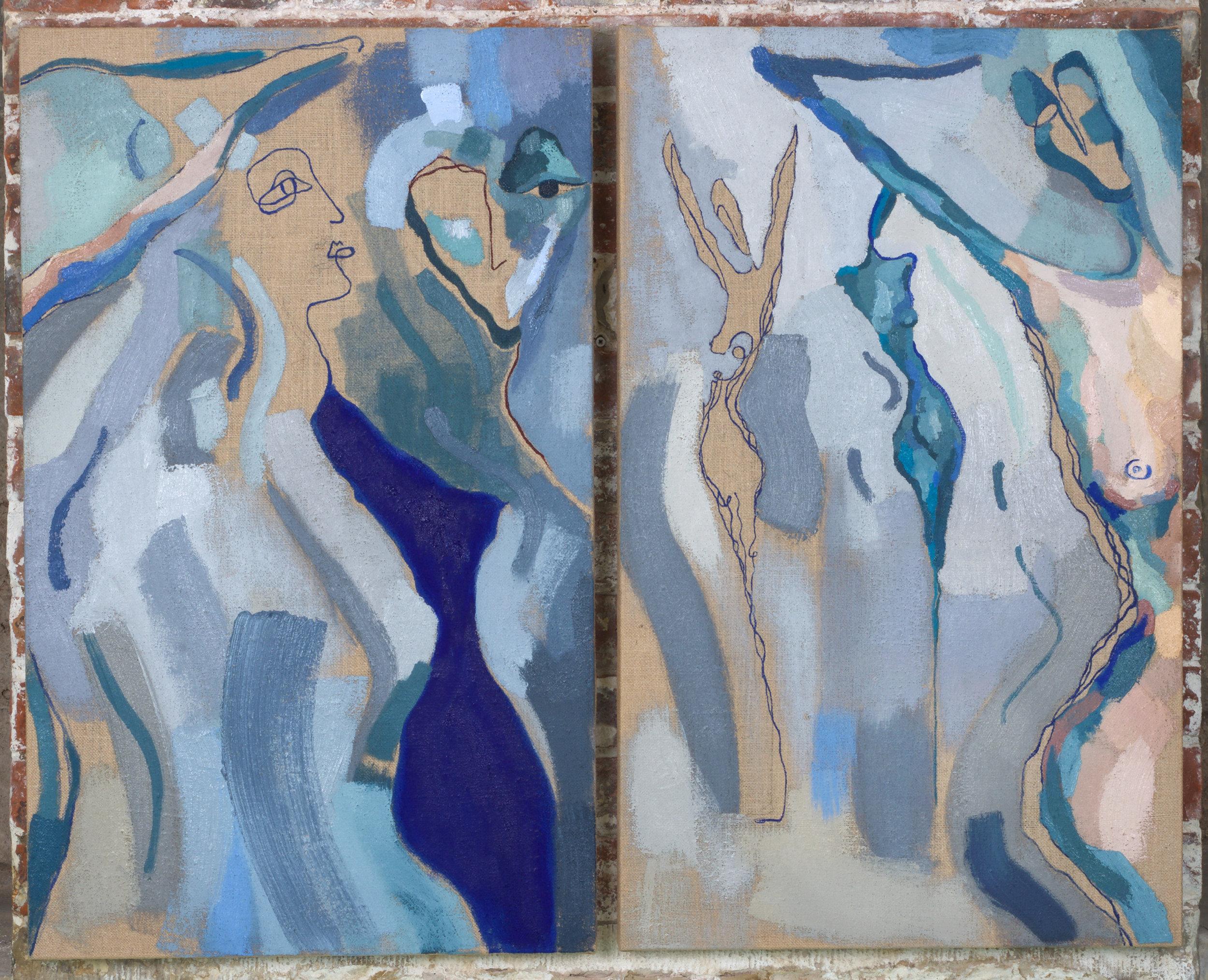 Diptych (Oil on jute) by Venetia Berry.   venetiaberry.com