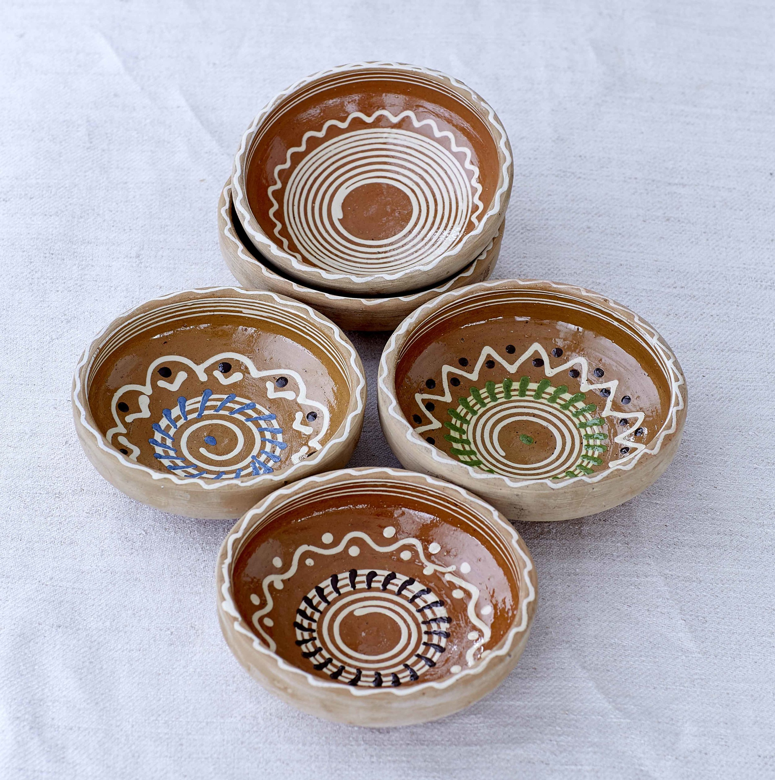 Cereal Bowls (Blue/White/Brown/Green Flower)