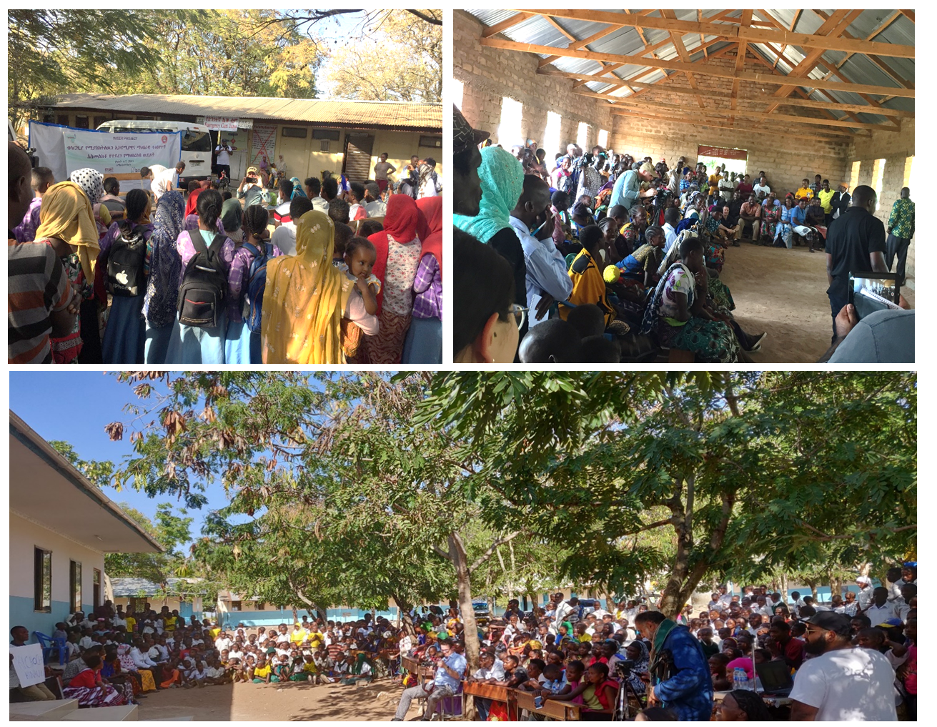 Clockwise from top left is crowd watching drama performance in Kemise, Ethiopia; Mwakalima, Tanzania; and Kigongo, Tanzania