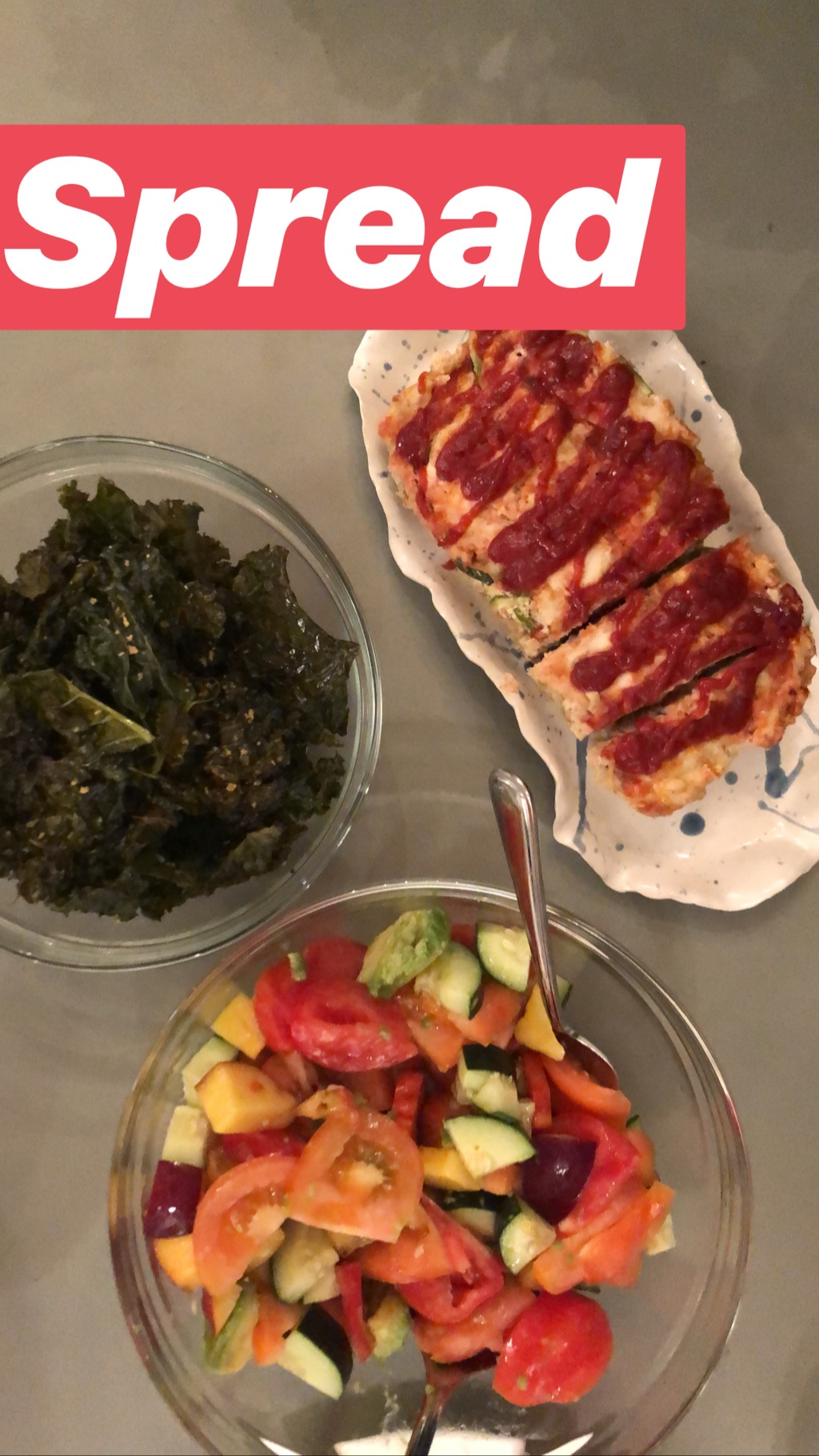 turkey meatloaf with kale chips and tomato peach and avocado salad