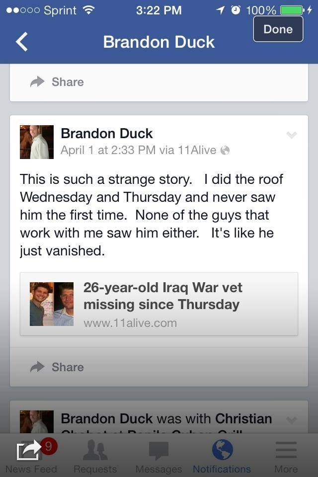 A social media posting from Brandon Duck just days after Chase's disappearance