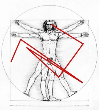 Overlaying our sigil pattern on Leonardo Di Vinci's Virtruvian Man