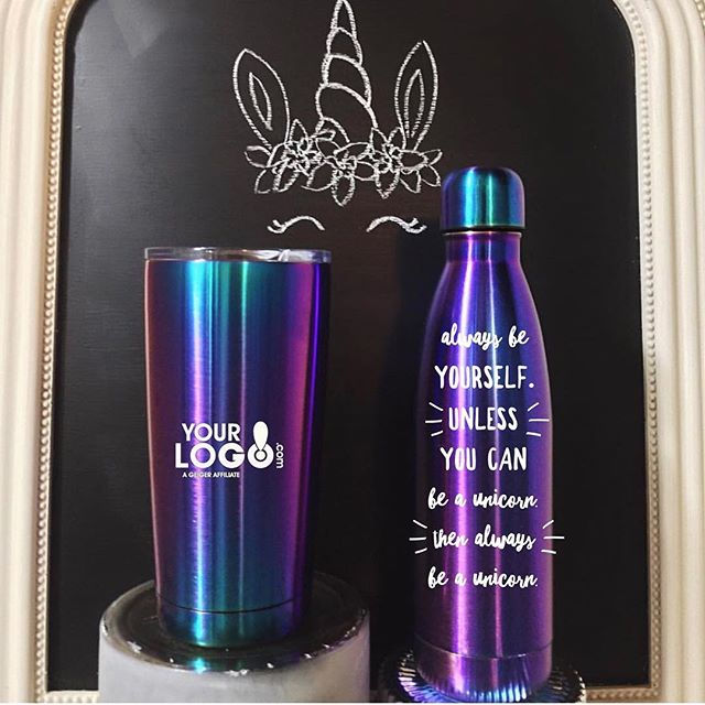 The most magical drink-ware has arrived. The Unicorn tumbler and bottle quickly made our favorite new product of the year list. #yourlogomatters #geigergetsit #staymagical #Branding #beaunicorn