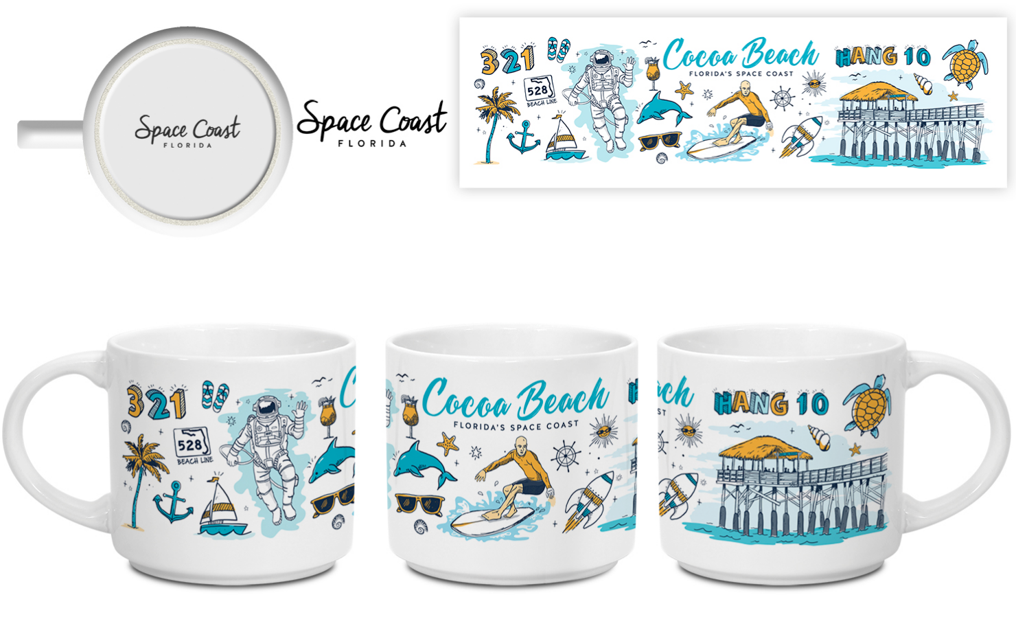 """A Gold ADDY was awarded to the Starbucks inspired """"Been There"""" Mug for Space Coast Office of Tourism."""