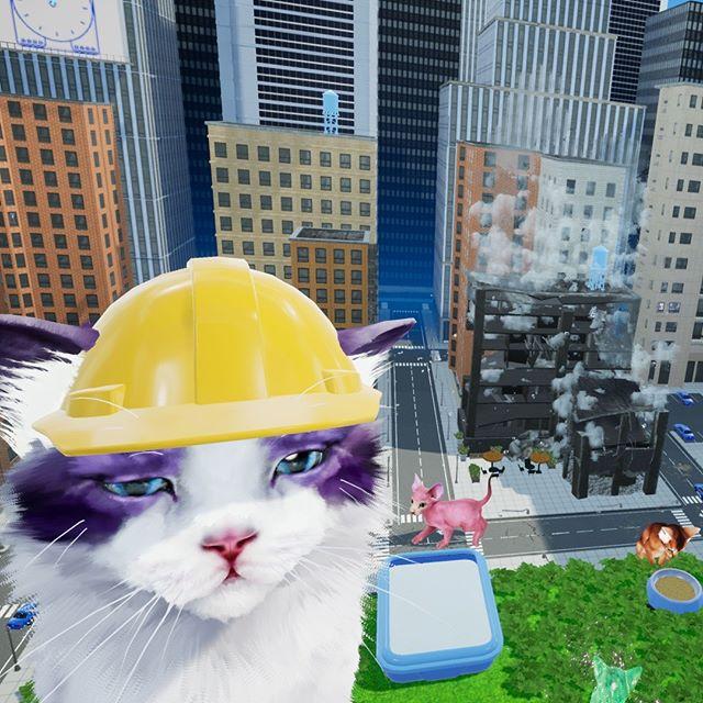 A lil builder! #gamedev #catsofinstagram #cat #vr #indiegamedev #indiegame #virtualreality