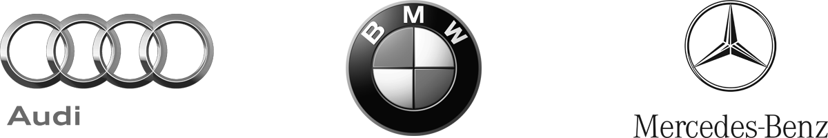 Audi, BMW and Mercedes Logos