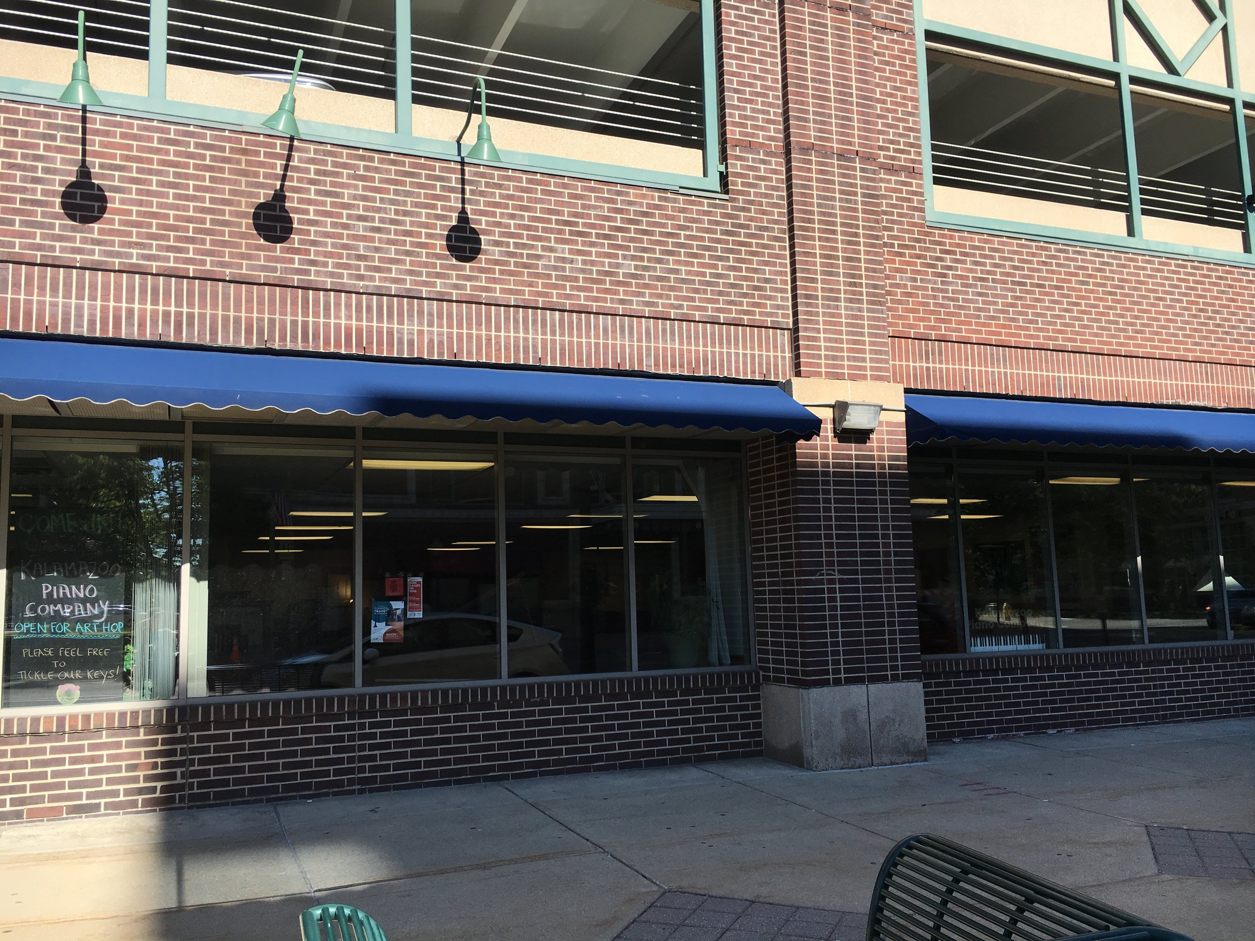 Exterior of the Jazz & Creative Institute/Kalamazoo Piano Company at 310 North Rose Street, Kalamazoo, MI.