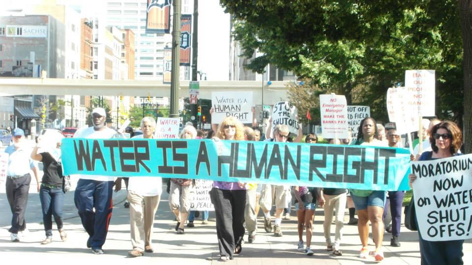 Demonstrators against Detroit Water Shutoffs