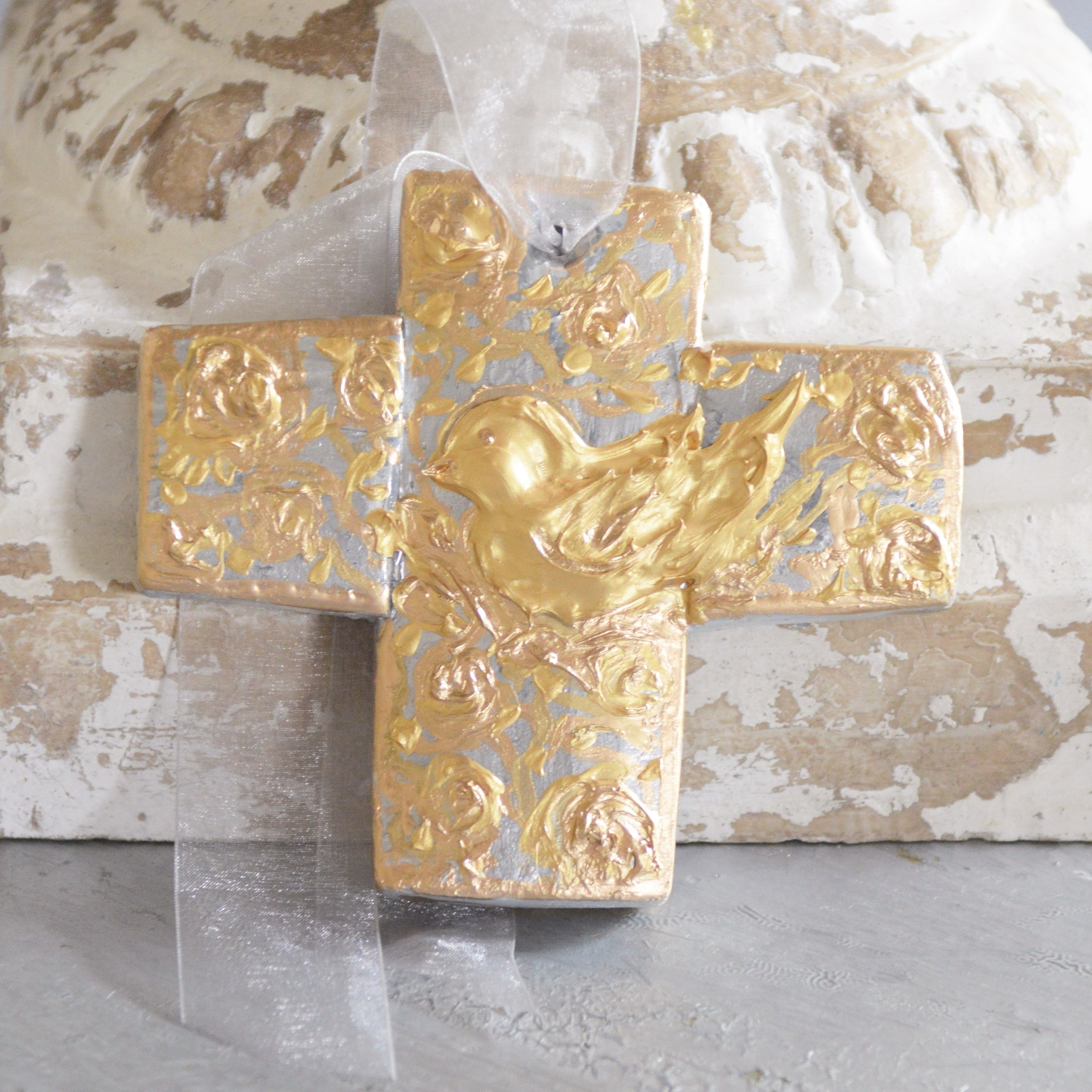 Hand crafted, and painted bird cross,wedding favour.