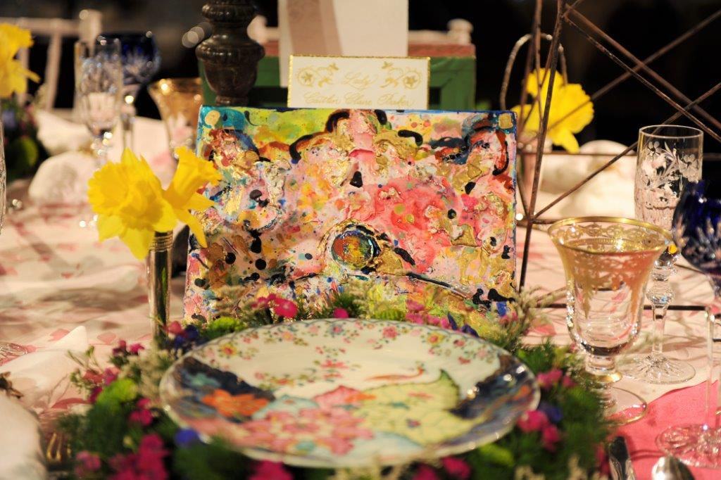 """We designed these 8x10"""" paintings, for the Queen's Luncheon for Mobile Mardi Gras. There were 23 individual paintings, with the debutante's crown shapes ,designed as flowers, to match the place settings."""